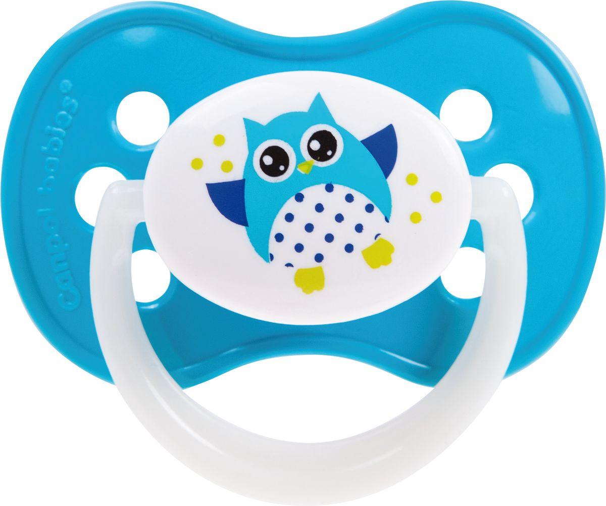 Canpol Babies Пустышка силиконовая симметричная Owl от 18 месяцев цвет голубой