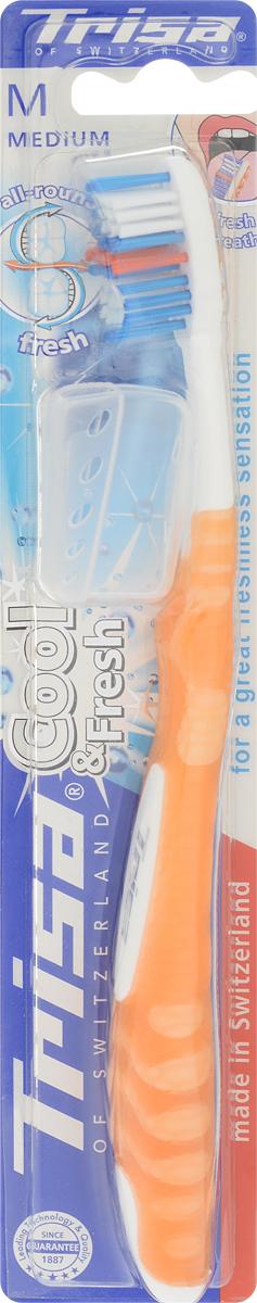 Trisa Зубная щетка Cool & Fresh, средняя жесткость, цвет: оранжевый26102025Зубная щетка Trisa Cool & Fresh - щетина средней степени жесткости - произведена в Швейцарии в соответствии с новейшими научными разработками. Многоуровневые щетинки подстраиваются под индивидуальную форму зуба и удаляют налет даже по линии десневого края. С помощью приятного скребка для языка можно удалить бактерии, вызывающие неприятный запах, с языка и щеки. Комбинация скребка для языка и многоуровневых щетинок обеспечивает эффективное удаление налета и сохраняет свежее дыхание.