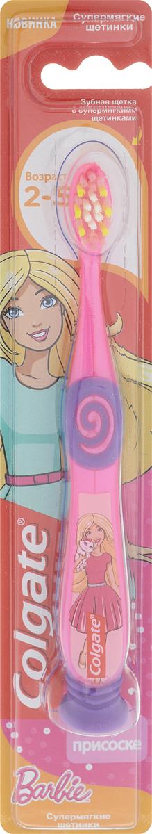 Colgate Зубная щетка детская Barbie, супермягкая, от 2 до 5 лет, цвет: розовый. FCN21742_с кошкойFMS-101Детская зубная щетка Colgate Barbie предназначена для детей, у которых еще есть молочные зубки. Супермягкие щетинки с закругленными кончиками обеспечат бережную очистку молочных зубов. Маленькая овальная головка с очень мягкими щетинками не травмируют эмаль и хорошо очищает зубы от остатков пищи. Удобная ручка с упором для большого пальца не скользит, обеспечивая лучший контроль. А благодаря яркому и привлекательному дизайну, ежедневная чистка зубов станет удовольствием для вашего ребенка. Щетка дополнена липучкой на ручке, благодаря чему ее удобно хранить. Товар сертифицирован.