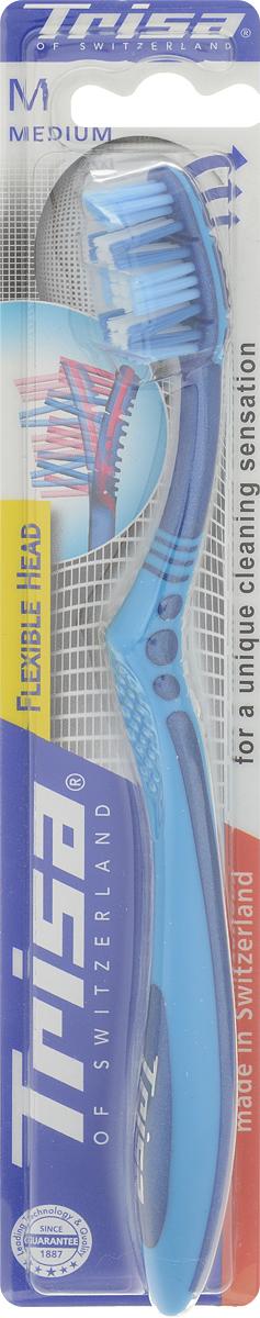 Trisa Зубная щетка Flexible Head, средняя жесткость, цвет: голубой, синийCF5512F4Зубная щетка Trisa Flexible Head средней степени жесткости произведена в Швейцарии в соответствии с новейшими научными разработками. Поделенное на три сектора многоуровневое щеточное поле имеет активный выступ в верхней части и двойные подвижные пучки щетинок. Гибкая головка позволяет избежать излишнего давления на зубы и десны во время чистки. Эффективна при чистке труднодоступных коренных зубов. Особое расположение щетинок позволяет очищать зуб одновременно с трех сторон. Удобная, эргономичная ручка.
