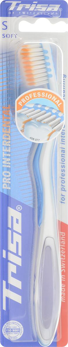 Trisa Зубная щетка Pro Interdental, мягкая, цвет: перламутровый, голубой14081Зубная щетка Trisa Pro Interdental - мягкая щетина- превосходно чистит зубы и межзубные промежутки, удобна в эксплуатации. Благодаря оригинальной форме щетинок, очищаются одновременно поверхность и межзубной промежуток, а короткие щетинки специальной формы удаляют зубной налет и предотвращают его появление. У щетки очень удобная форма, которая обеспечивает отличный упор для большого пальца.Товар сертифицирован.