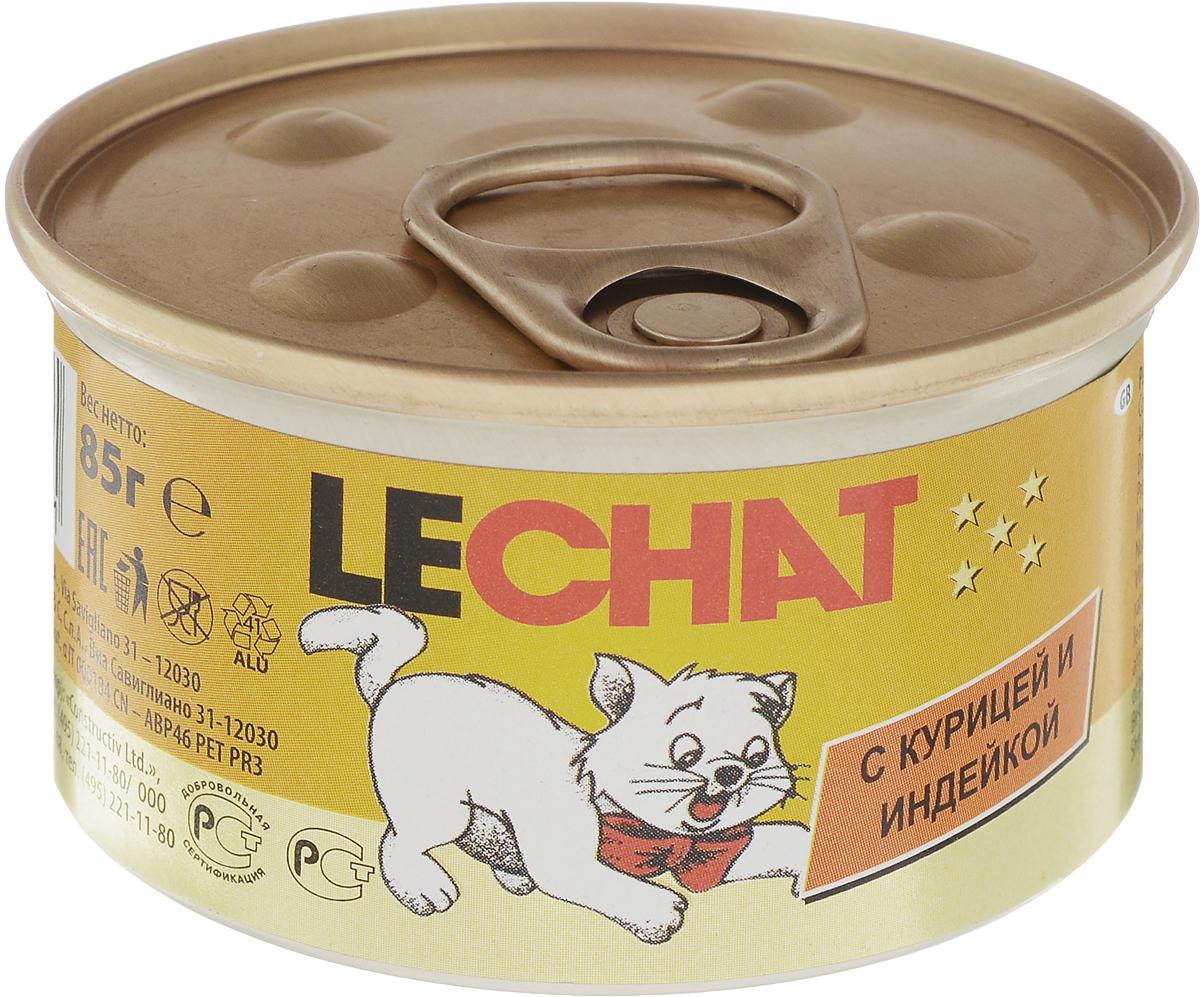 Консервы для кошек Lechat, мусс c курицей и индейкой, 85 г70000901Консервы для кошек Lechat - это полнорационный корм для кошек, также подходит для кормления котят. В состав входят все необходимые витамины и минеральные вещества для поддержания здоровья и активности кошки.Эксклюзивный способ приготовления - варка на пару - позволяет достичь нежной, мягкой и при этом густой консистенции продукта.Не содержит красителей, консервантов и сахара. Рекомендации по кормлению: для кошек среднего размера норма составляет 85 г продукта на каждое кормление (4-5 раз в день).Подавать корм комнатной температуры. Убедитесь, что у кошки есть доступ к свежей чистой воде.Хранить при комнатной температуре, после вскрытия - в холодильнике. Состав: мясо и мясные субпродукты 76% (курица - 44%, индейка - 8%), минеральные вещества, витамины, каррагенин. Анализ компонентов: сырой белок 9%, сырой жир 7,5%, сырая клетчатка 0,5%, сырая зола 1%, влажность 80%. Витамины на 1 кг: витамин А 2000 МЕ, витамин D3 250 МЕ, витамин Е 5 мг, медь 0,54 мг. Энергетическая ценность: 1078 кКал. Товар сертифицирован. Уважаемые клиенты! Обращаем ваше внимание на возможные изменения в дизайне упаковки. Качественные характеристики товара остаются неизменными. Поставка осуществляется в зависимости от наличия на складе.