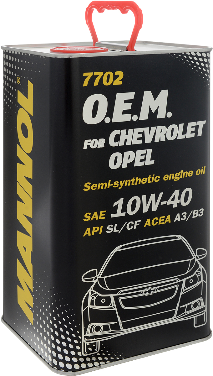 Моторное масло MANNOL 7702 O.E.M., для Chevrolet и Opel, 10W-40, синтетическое, 4 л102888Моторное масло MANNOL 7702 O.E.M. - специальное моторное масло, предназначенное для современных бензиновых и дизельных двигателей (включая турбированные) легковых автомобилей, внедорожников, микроавтобусов OPEL, CHEVROLET, DAEWOO, SAAB, GM. Эффективно защищает от износа и обеспечивает исключительную чистоту деталей. Надежно защищает двигатель при экстремально тяжелых условиях эксплуатации, включая эксплуатацию автотранспорта в городском цикле Старт-Стоп. Синтетические компоненты масла гарантируют легкий холодный пуск даже при экстремально низких температурах. Совместимо со всеми системами очистки выхлопных газов. Может использоваться в двигателях с увеличенным интервалом замены масла (LongLife) и без него. Продукт имеет допуски / соответствует спецификациям / продуктам:SAE 10W-40API SL/CFACEA A3/B3VW 501.00/505.00MB 229.1CHEVROLET OPEL GM DAEWOO SAAB