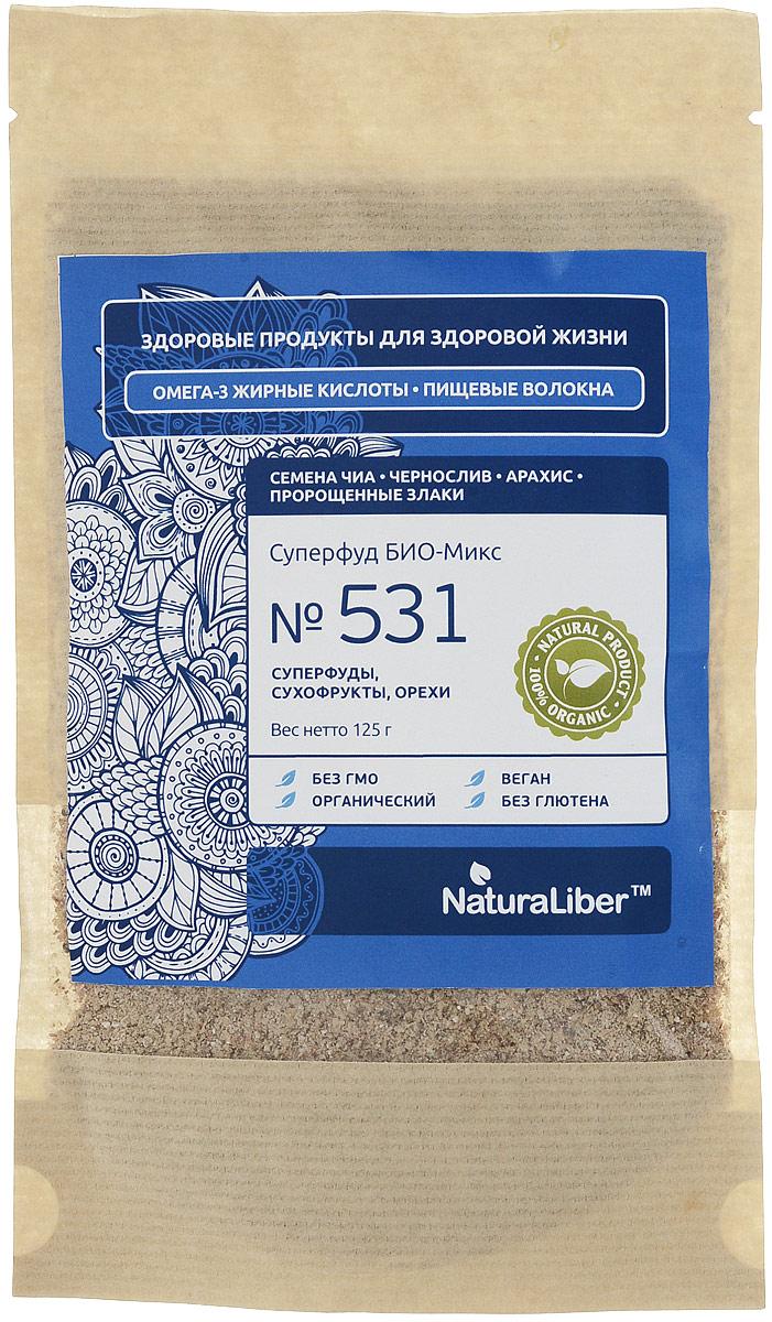 NaturaLiber Суперфуд БИО-Микс №531, 125 г0120710Продукт рекомендуется для ежедневного употребления всем любителям здорового питания, вегетарианцам и сыроедам.Способ употребления: 2-3 столовых ложек БИО-Микса развести в 100-200 мл сока, молока, кефира или йогурта, добавить по вкусу мед, варенье или специи и подождать 5 минут.