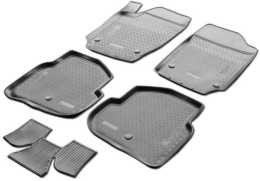 Коврики в салон автомобиля Rival, для Volkswagen Polo (SD) 2010->, с перемычкой, 5 шт54 009318Автомобильные коврики салона Rival Прочные и долговечные коврики в салон автомобиля, изготовлены из высококачественного и экологичного сырья, полностью повторяют геометрию салона вашего автомобиля.- Надежная система крепления, позволяющая закрепить коврик на штатные элементы фиксации, в результате чего отсутствует эффект скольжения по салону автомобиля.- Высокая стойкость поверхности к стиранию.- Специализированный рисунок и высокий борт, препятствующие распространению грязи и жидкости по поверхности коврика.- Перемычка задних ковриков в комплекте предотвращает загрязнение тоннеля карданного вала.- Произведены из первичных материалов, в результате чего отсутствует неприятный запах в салоне автомобиля.- Высокая эластичность, можно беспрепятственно эксплуатировать при температуре от -45 ?C до +45 ?C.Уважаемые клиенты!Обращаем ваше внимание, что коврики имеет форму соответствующую модели данного автомобиля. Фото служит для визуального восприятия товара.