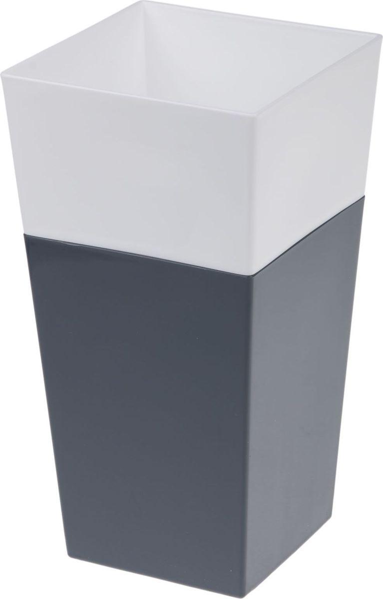 Кашпо JetPlast Дуэт, цвет: антрацит, белый, высота 26 см4612754051434Кашпо имеет строгий дизайн и состоит из двух частей: верхней части для цветка и нижней – поддона. Конструкция горшка позволяет, при желании, использовать систему фитильного полива, снабдив горшок веревкой. Оно изготовлено из прочного полипропилена (пластика).Размеры кашпо: 13 x 13 x 26 см.