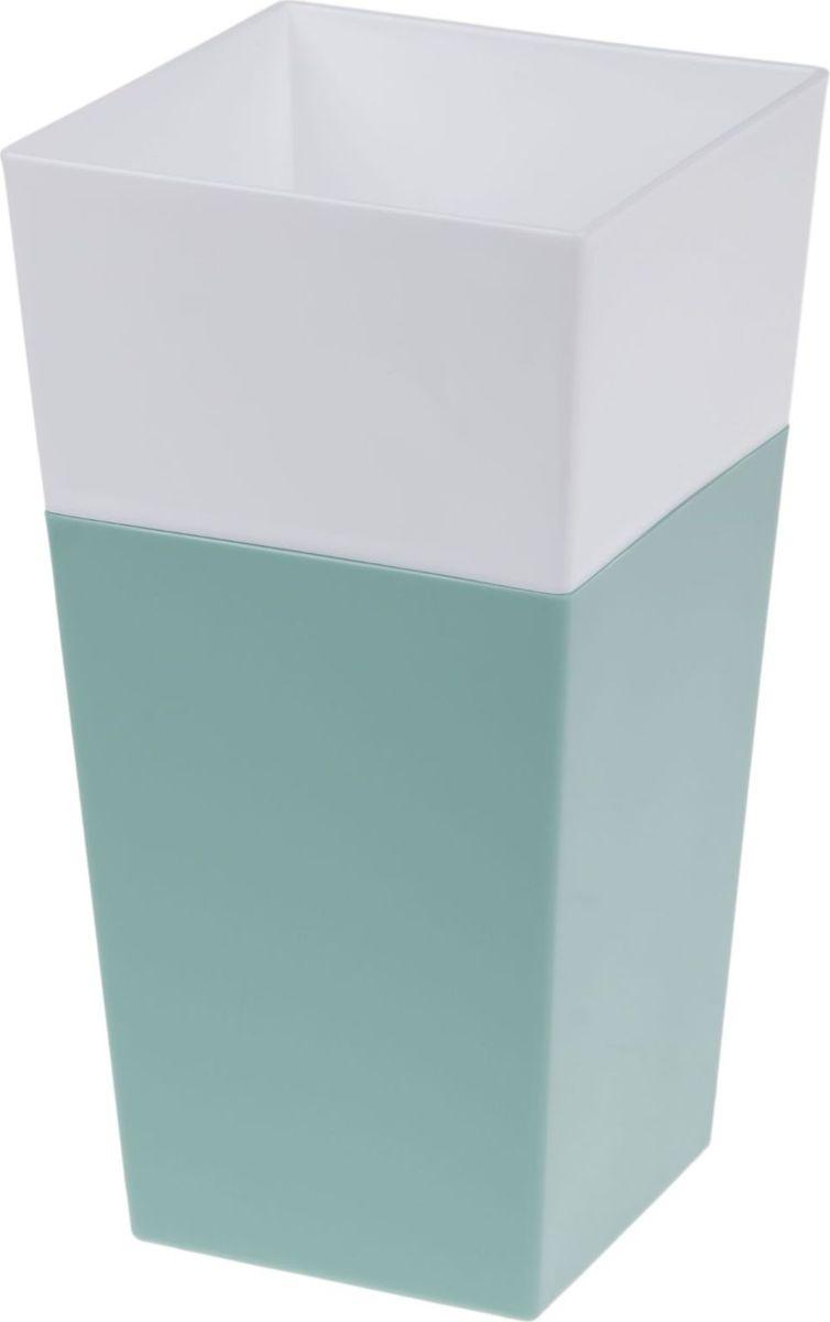 Кашпо JetPlast Дуэт, цвет: нефрит, белый, высота 26 см531-402Кашпо имеет строгий дизайн и состоит из двух частей: верхней части для цветка и нижней – поддона. Конструкция горшка позволяет, при желании, использовать систему фитильного полива, снабдив горшок веревкой. Оно изготовлено из прочного полипропилена (пластика).Размеры кашпо: 13 x 13 x 26 см.
