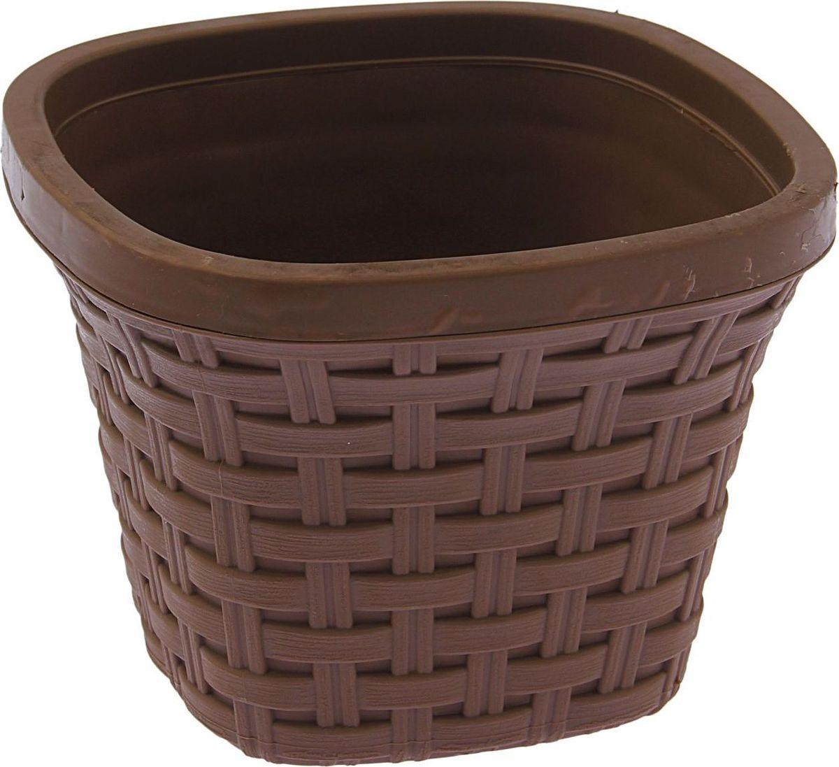 Кашпо квадратное Violet Ротанг, с дренажной системой, цвет: какао, 1,3 л1004900000360Квадратное кашпо Violet Ротанг изготовлено из высококачественного пластика и оснащено дренажной системой для быстрого отведения избытка воды при поливе. Изделие прекрасно подходит для выращивания растений и цветов в домашних условиях. Объем: 1,3 л.