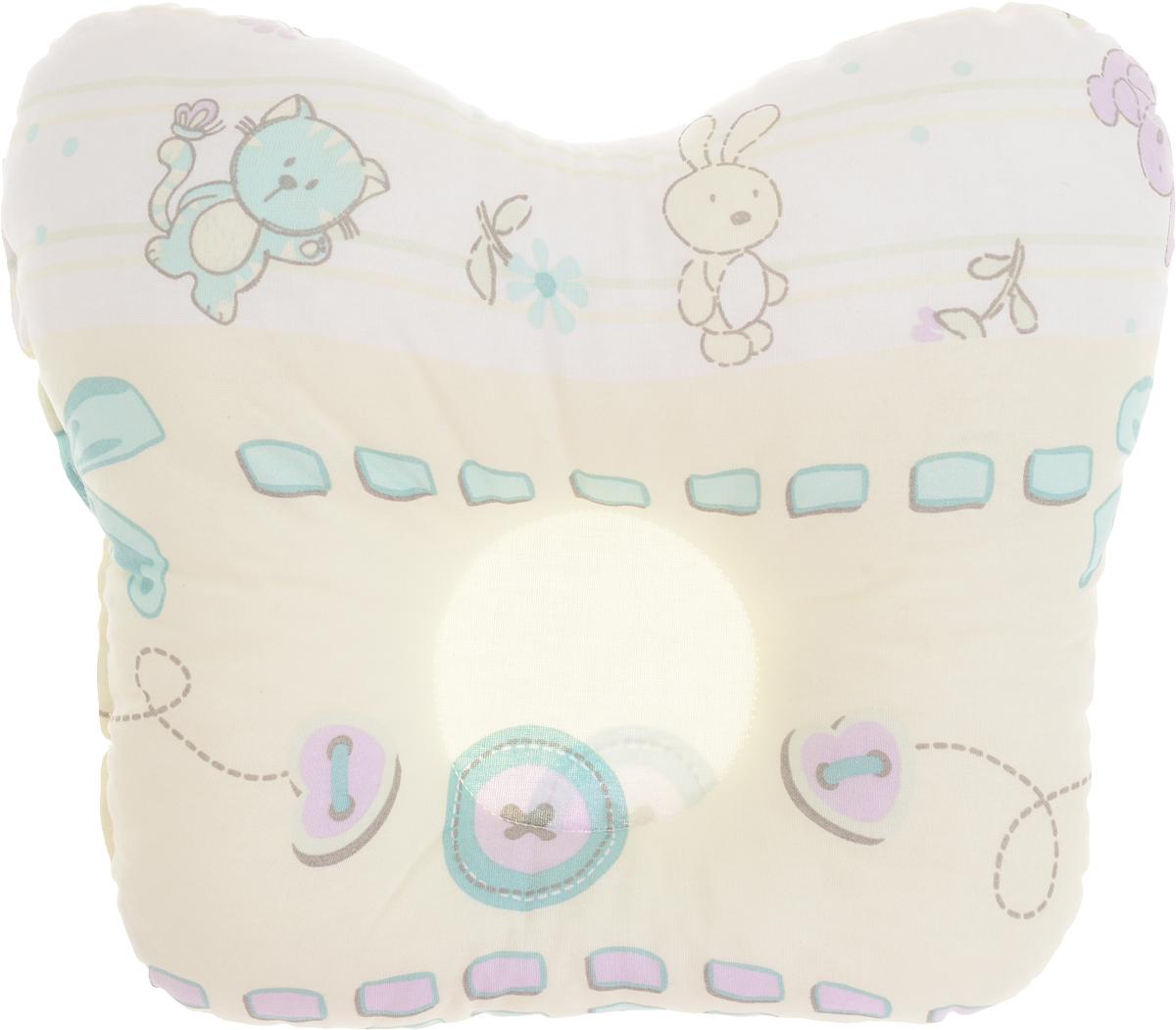 Сонный гномик Подушка анатомическая для младенцев Заяц и кот цвет желтый белый зеленый 27 х 25 см555А_желтый, белый, зеленый, пуговицаАнатомическая подушка для младенцев Сонный гномик Заяц и кот изготовлена из бязи - 100% хлопка. Наполнитель - синтепон в гранулах (100% полиэстер).Подушка компактна и удобна для пеленания малыша и кормления на руках, она также незаменима для сна ребенка в кроватке и комфортна для использования в коляске на прогулке. Углубление в подушке фиксирует правильное положение головы ребенка.Подушка помогает правильному формированию шейного отдела позвоночника.