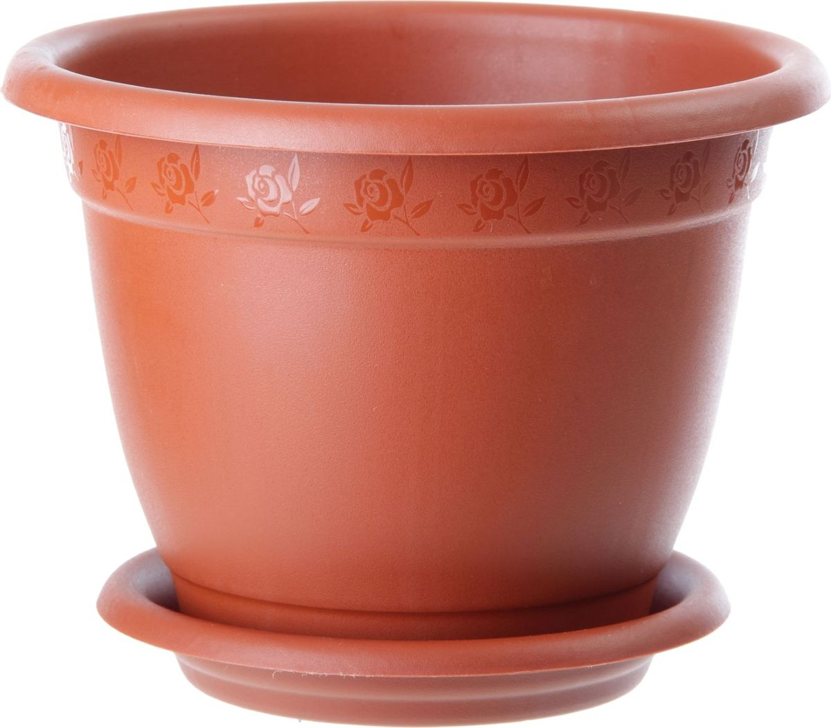 Горшок для цветов InGreen Борнео, с поддоном, цвет: терракотовый, диаметр 14 смZ-0307Любой, даже самый современный и продуманный интерьер будет не завершённым без растений. Они не только очищают воздух и насыщают его кислородом, но и заметно украшают окружающее пространство. Такому полезному &laquo члену семьи&raquoпросто необходимо красивое и функциональное кашпо, оригинальный горшок или необычная ваза! Мы предлагаем - Горшок для цветов с поддоном, d=14 см Борнео 1,5 л, цвет терракотовый!Оптимальный выбор материала &mdash &nbsp пластмасса! Почему мы так считаем? Малый вес. С лёгкостью переносите горшки и кашпо с места на место, ставьте их на столики или полки, подвешивайте под потолок, не беспокоясь о нагрузке. Простота ухода. Пластиковые изделия не нуждаются в специальных условиях хранения. Их&nbsp легко чистить &mdashдостаточно просто сполоснуть тёплой водой. Никаких царапин. Пластиковые кашпо не царапают и не загрязняют поверхности, на которых стоят. Пластик дольше хранит влагу, а значит &mdashрастение реже нуждается в поливе. Пластмасса не пропускает воздух &mdashкорневой системе растения не грозят резкие перепады температур. Огромный выбор форм, декора и расцветок &mdashвы без труда подберёте что-то, что идеально впишется в уже существующий интерьер.Соблюдая нехитрые правила ухода, вы можете заметно продлить срок службы горшков, вазонов и кашпо из пластика: всегда учитывайте размер кроны и корневой системы растения (при разрастании большое растение способно повредить маленький горшок)берегите изделие от воздействия прямых солнечных лучей, чтобы кашпо и горшки не выцветалидержите кашпо и горшки из пластика подальше от нагревающихся поверхностей.Создавайте прекрасные цветочные композиции, выращивайте рассаду или необычные растения, а низкие цены позволят вам не ограничивать себя в выборе.