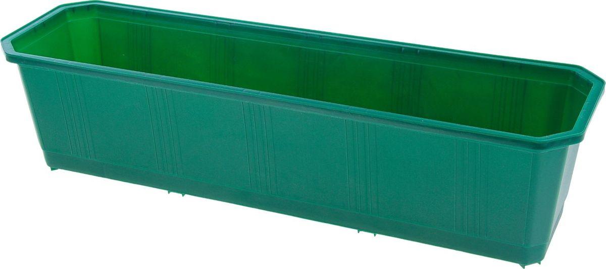 Ящик балконный InGreen, цвет: темно-зеленый, 60 х 17 х 15 см. ING1802ТЗЛZ-0307Балконный ящик InGreen, изготовленный из высококачественного цветного пластика, предназначен для выращивания цветов и рассады как на балконе, так и в комнатных условиях.