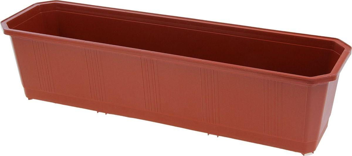 Ящик балконный InGreen, цвет: терракотовый, 60 х 17 х 15 см. ING1802ТРZ-0307Балконный ящик InGreen, изготовленный из высококачественного цветного пластика, предназначен для выращивания цветов и рассады как на балконе, так и в комнатных условиях.