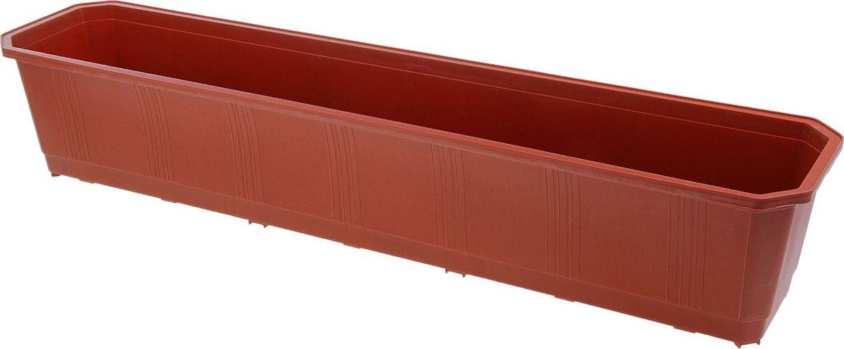 Ящик балконный InGreen, цвет: терракотовый, 80 х 17 х 15 см. ING1803ТРZ-0307Балконный ящик InGreen, изготовленный из высококачественного цветного пластика, предназначен для выращивания цветов и рассады как на балконе, так и в комнатных условиях.