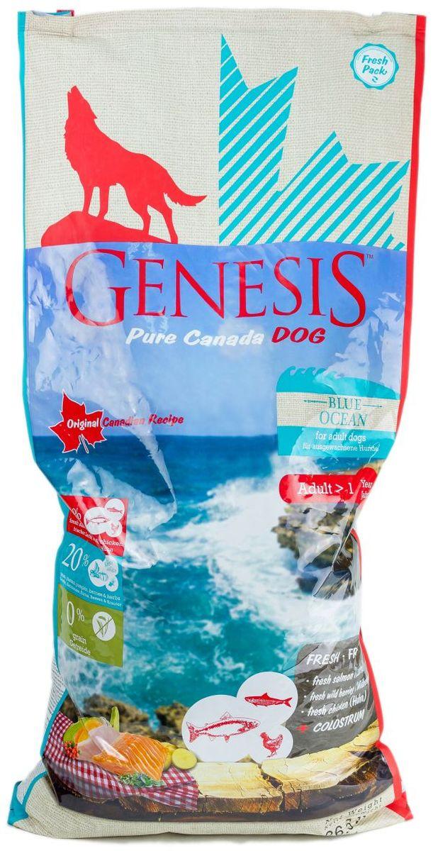 Корм сухой Genesis Pure Canada Blue Ocean для взрослых собак, с лососем, сельдью и курицей, 11,79 кг0120710Genesis Pure Canada Blue Ocean.Сухой полнорационный беззерновой корм класса холистик для взрослых собак всех пород с лососем, сельдью и курицей.Диаметр гранулы: 13 мм.Ингредиенты: Свежая курица (мин. 54,5 %), лосось (замороженный, мин. 12 %), свежая сельдь (мин. 6 %), белок из мяса кур (дегидратированный, min. 6 %), картофельная мука, горох (сушёный), тыква (сушёная), бананы кормовые (платан) (сушёные), нут (сушёный), чечевица (сушеная), гидролизованный протеин, жир лосося (мин. 0,5 %), семена подорожника, молозиво (мин. 0,3 %), порошок из морских водорослей, клюква (сушёная), черника (сушёная, мин. 0,1 %), дикая крапива (сушёная, мин. 0,02 %), экстракт зеленой мидии (минимум 0,1%), листья ежевики (сушёные), тысячелистник (сушёный, мин. 0,02 %), фенхель (сушёный), тмин (сушёный), цветки ромашки (сушёные), омела (сушёная), корень горечавки (сушёный), золототысячник (сушёный), цикориевая пудра.