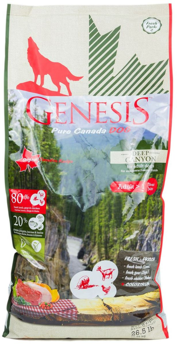 Корм сухой Genesis Pure Canada Deep Canyon для взрослых собак, с курицей, ягненком и козой, 11,79 кг0120710Полнорационный беззерновой сухой корм класса холистик для взрослых собак всех пород с курицей, ягненком и козой.Ингредиенты: Свежая курица (мин. 60 %), белок из мяса кур (дегидратированный, мин. 10,5 %), свежее мясо ягненка (мин. 6 %), картофельная мука (мин. 4 %), горох (сушёный), свежее мясо коз (мин. 2 %), тыква (высушенная, мин. 2 %), кормовые бананы (плантан) (сушёные, мин. 2 %), нут (сушёный), чечевица (сушеная), гидролизованный протеин, семена подорожника, молозиво (мин. 0,3 %), клюква (сушёная), черника (сушёная, мин. 0,1 %), экстракт зеленой мидии (сушёные, мин. 0,1 %), дикая крапива (сушёная), листья ежевики (сушёные), тысячелистник (сушёный), фенхель (сушёный), тмин (сушёный), цветки ромашки (сушёные), омела (сушёная, мин. 0,02 %), корень горечавки (сушёный), золототысячник обыкновенный (сушёный, мин. 0,02 %), порошок из цикория.
