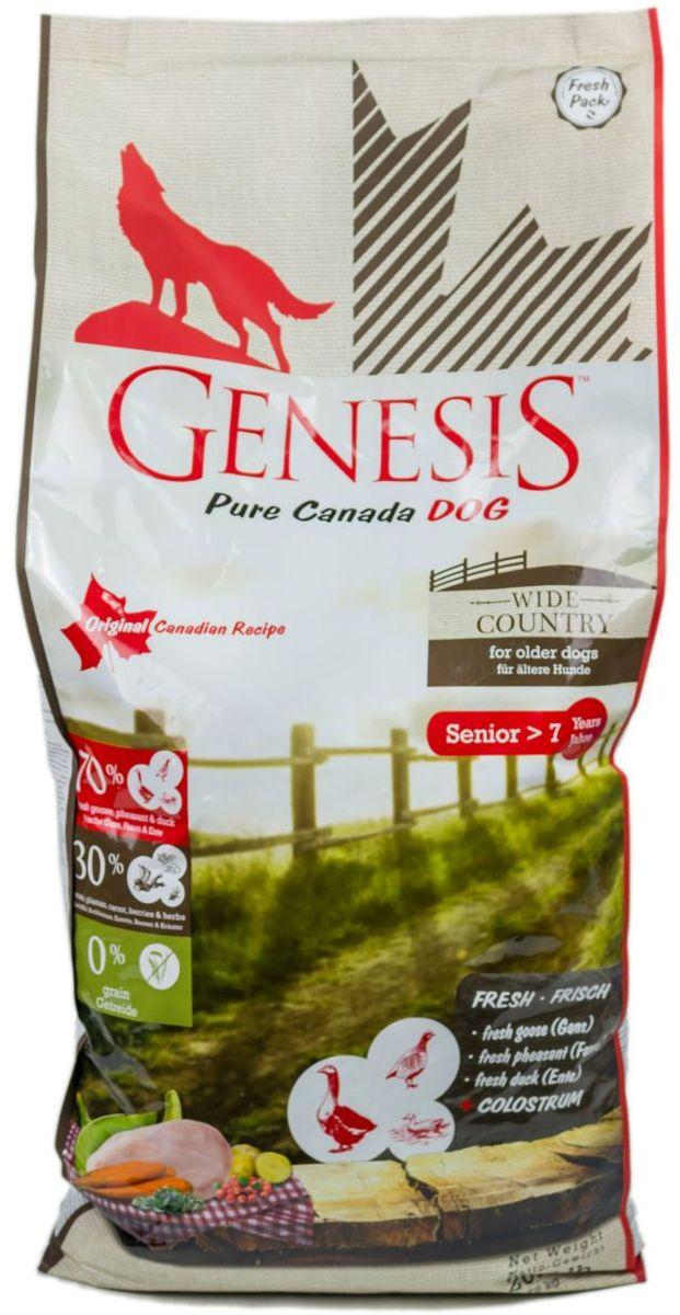 Корм сухой Genesis Pure Canada Wide Country Senior для пожилых собак, с мясом гуся, фазана, утки и курицы, 11,79 кг0120710Полнорационный беззерновой сухой корм класса холистик для пожилых собак всех пород с мясом гуся, фазана, утки и курицы.Ингредиенты: Свежая курица (мин. 54,5 %), свежее мясо гуся (мин. 6 %), свежее мясо утки (мин. 6 %), порошок целлюлозы, картофельная мука (мин. 4,5 %), горох (сушёный), картофельный крахмал (мин. 3,5 %), свежее мясо фазана (мин. 2 %), морковь (сушёная, мин. 2 %), кормовые бананы (плантан) (сушёные, мин. 2 %), нут (сушёный), чечевица (сушеная), гидролизованный протеин, семена подорожника, молозиво (мин. 0,3 %), клюква (сушёная), черника (сушёная, мин. 0,1 %), экстракт зеленой мидии (сушёные, мин 0,1 %), дикая крапива (сушёная), листья ежевики (сушёные, мин. 0,02 %), тысячелистник (сушёный, мин. 0,02 %), фенхель (сушёный), тмин (сушёный), цветки ромашки (сушёные), омела (сушёная), корень горечавки (сушёный), золототысячник обыкновенный (сушёный), порошок из цикория.
