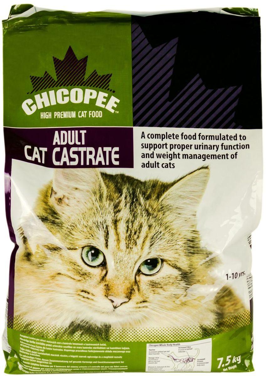 Корм сухой Chicopee для кастрированных котов и стерилизованных кошек, с курицей, 7,5 кг5579075При содержании кастрированных котов и стерилизованных кошек важно учитывать многие факторы. Необходимо контролировать вес питомца, следить за здоровьем его мочеполовой системы, а главное, обеспечить сбалансированным и правильным питанием. Корм Chicopee создан специально для кастрированных и стерилизованных кошек с учетом всех этих требований.Особенности данного рациона:Необходимое количество углеводов обеспечивает заряд энергии, но не превышает уровень калорийности. Это особенно важно, поскольку лишний вес - это главнейшая проблема со здоровьем у кастрированных животных.Содержание в составе семян льна - богатейшего источника полиненасыщенных жирных кислот Омега-3 и Омега-6. Эти вещества снижают уровень холестерина, предупреждают повреждения сосудов, препятствуют развитию атеросклероза, нормализуют сердцебиение. Кроме того, эти кислоты имеют огромное значение для предотвращения развития раковых клеток в организме кошки.Улучшение всей работы пищеварительной системы за счет важнейших для этого компонентов. Так, значительное содержание в корме Chicopee для кастрированных кошек маннановых олигосахаридов (МОС) и инулина обеспечивает стабильный баланс кишечной микрофлоры, а пищевые волокна препятствуют формированию волосяных комков в желудке.Цинк, селен и витамин Е поддерживают здоровое состояние мочеполовой системы, а также препятствуют развитию мастита - воспаления молочных желез у самок.Богатая формула данного корма позволяет обеспечить организм стерилизованного питомца важнейшими ресурсами для поддержания подтянутой формы, красоты экстерьера и крепкого здоровья.Ингредиенты: мука из мяса домашней птицы, кукуруза, кукурузный глютен, пшеничные отруби, животный жир, целлюлоза, гидролизат белка, pыбная мука, cемена льна, мука из печени, сухие пивные дрожжи, xлористый калий, порошок корня цикория (инулин 0,10%), экстракт дрожжей (МОS 0,10%).Добавки на 1 кг: витамин A 18,000 ME, вита