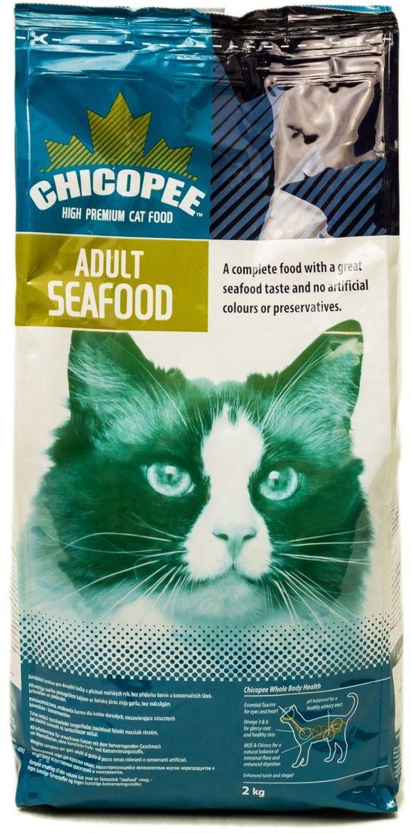 Корм сухой Chicopee Seafood для взрослых кошек с морепродуктами, 2 кг0120710Многие кошки предпочитают мясу морепродукты, ведь их состав полностью соответствует биологическим нуждам питомца: потребность в белке, жирных и аминокислотах, таурине. Корм Chicopee с морепродуктами создан именно для таких животных. Его уникальные аромат и вкус гарантируют, что питомец не откажется от рациона в течение долгого времени.Главные особенности рациона Chicopee с морепродуктами: - Содержание в составе самых важных компонентов для кошачьего здоровья: таурина, полиненасыщенных жирных кислот Омега-3 и Омега-6, маннановых олигосахаридов и инулина. Эти вещества способствуют работе пищеварительной системы кошки, обеспечивают высокий уровень ее иммунитета, хорошую работу сердца, поддерживают зрение. - Животный жир укрепляет кости и суставы животного, делая их более эластичными и прочными, кроме того, этот компонент формирует мышечную и соединительную ткани, обеспечивая здоровье всего опорно-двигательного аппарата. - Экстракт дрожжей способствует здоровому состоянию кожи и хорошему качеству шерсти, делая ее мягкой, упругой, шелковистой и блестящей.Содержание исключительно натуральных ингредиентов, не провоцирует рецидива аллергии или пищевой непереносимости.Важно отметить, что помимо полноценного состава, Chicopee для кошек с морепродуктами обладает невероятными ароматом и вкусовой привлекательностью, что важно при кормлении привередливого питомца.Ингредиенты: кукуруза, мука из мяса домашней птицы, кукурузный глютен, животный жир, pыбная мука, гидролизат белка, мука из потрохов, xлористый калий, порошок корня цикория (инулин 0.10%), экстракт дрожжей (МОS 0.10%).Добавки на 1 кг:Витамин A 18,000 ME, Витамин D3 1,800 ME, Таурин 1,650 мг, Витамин E 150 мг, Медь (сульфат меди, пентагидрат) 12 мг, Цинк (оксид цинка) 75 мг, Йод (йодат кальция обезвоженный) 2 мг, Селен (селенид натрия) 0.2 мг.