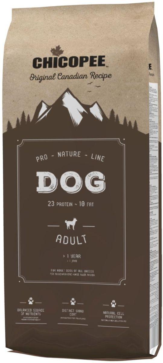 Корм сухой Chicopee Pro Nature для взрослых собак всех пород, 20 кг9303320Корм сухой Chicopee Pro Nature - полноценное питание для взрослых собак всех пород.Основные преимущества: - Естественная защита клеток организма. Важные природные антиоксиданты, такие как витамин Е, и особые микроэлементы, такие как селен, защищают клетки организма и блокируют действие свободных радикалов, защищая содержимое клетки от разрушения. Это не только улучшает функционирование тканей и органов, но и является отличнейшей профилактикой старения организма. - Оптимальный уровень энергии. Повышенное содержание легкоусвояемых белков и высококачественных жиров обеспечивают оптимальное развитие щенка. - Сбалансированный источник питательных веществ. Сбалансированный состав кормов обеспечивает оптимальный запас в них питательных веществ, что позволяет снизить количество дневной нормы кормления и уменьшить нагрузку на желудочно-кишечный тракт. - Гигиена полости рта. Размер и структура гранул рационов стимулируют их тщательное пережевывание. Это позволяет в процессе приема пищи удалять налет с зубов и десен животного. - Усиленный энергообмен. Повышенное содержание жира обеспечивает оптимальное количество энергии в концентрированной и легкоусвояемой форме, что особенно важно для собак с особыми потребностями. - Оптимальные источники белка. Высокое качество и хорошая усвояемость белков (например, мясо домашней птицы) обеспечивают организм аминокислотами, которые необходимы для правильного мышечного развития. - Потрясающий блеск шерсти. Наличие в рационах высококачественных белков и экстракта пивных дрожжей обеспечивают блеск шерсти и здоровье кожи.Ингредиенты: мясная мука с протеином из мяса домашней птицы (дегидрированный), пшеница, ячмень, пшеничная мука, кукуруза, животный жир, просеянные пшеничные отруби, свекольная пульпа (без сахара), рыбная мука, дрожжи (сушеные 0,5 %), поваренная соль, гидролизованный протеин, рис, хлорид калия.Анализ компонентов: протеин 23%, содержание жира 10%, клетчатк