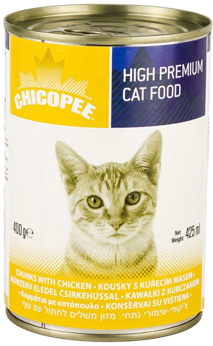 Консервы Chicopee Chunks Chicken для кошек, с кусочками курицы в соусе, 400 г0120710Консервы для кошек Chicopee Chunks with Chicken — это полноценное и сбалансированное питание, которое порадует своим вкусом любую кошку. Корм изготовлен из натуральных и высококачественных ингредиентов и содержит аппетитные кусочки курицы вместе с витаминами и минералами.Ингредиенты высокой усвояемости. Незаменимые витамины группы B и минералы. Отличные вкусовые качества. Без сахара, сои, гидрогенизированных жиров, красителей и консервантов.Ингредиенты: Мясо и мясные производные (курица 13,5%), злаки, минералы.Аналитический состав:Влага 80%Сырой протеин 8,0%Сырой жир 6,0%Сырая клетчатка 0,4%Сырая зола 3,0%