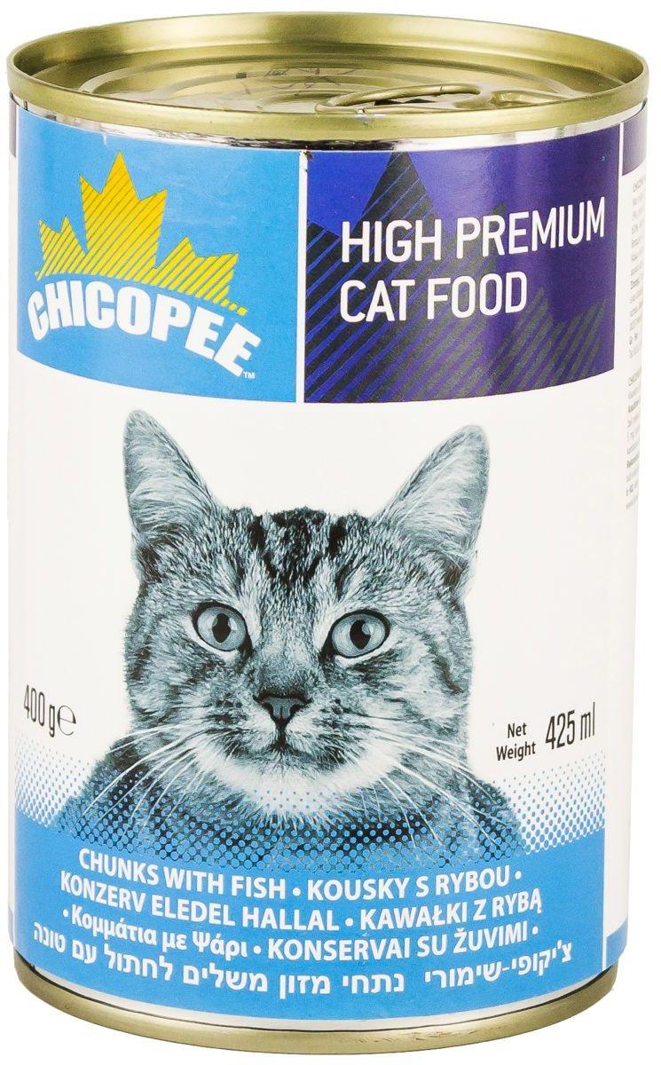 Консервы Chicopee для кошек, с кусочками рыбы в соусе, 400 гH515004Консервы для кошек Chicopee — это полноценное и сбалансированное питание, которое порадует своим вкусом любую кошку. Корм изготовлен из натуральных и высококачественных ингредиентов и содержит аппетитные кусочки рыбы и мяса вместе с витаминами и минералами.Ингредиенты высокой усвояемости. Незаменимые витамины группы B и минералы. Отличные вкусовые качества. Без сахара, сои, гидрогенизированных жиров, красителей и консервантов.Ингредиенты: мясо и мясные производные, рыба и рыбные производные (тунец 5%), злаки, минералы.Аналитический состав: влага 80%, сырой протеин 8,0%, сырой жир 6,0%, сырая клетчатка 0,4%, сырая зола 3,0%.Товар сертифицирован.