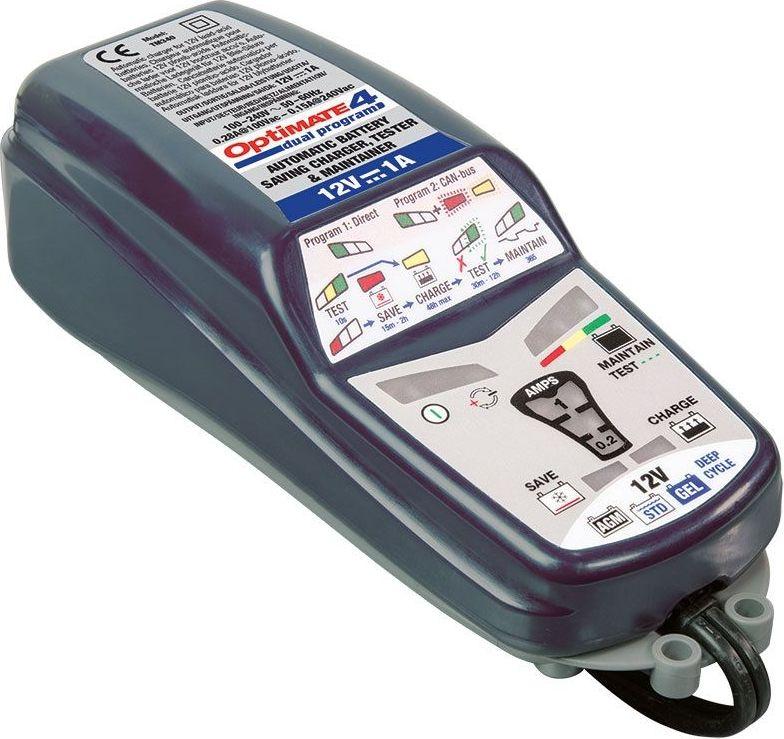Зарядное устройство OptiMate 4 Dual Program. TM340TM340Зарядное устройство OptiMate 4 Dual Program представляет собой надежное оборудование, которое предназначается для обслуживания аккумуляторных батарей в автоматическом режиме. Влагозащищенный коннектор, который входит в комплект поставки, обеспечивает удобство работы в труднодоступных местах. Специальные ушки на корпусе позволяют повесить модель в любом удобном месте. Прочный корпус исключает вероятность повреждения внутренних элементов при случайных механических воздействиях.Комплектация: зарядное устройство, зажимы типа крокодил О4, кольцевой разъем постоянного подключения О1, инструкция. Для аккумуляторов напряжением: 12 В.Напряжение питания: 220 В.Максимальный ток зарядки: 1 А.Тип зарядки автоматическая зарядка: WET, EFB,AGM, GEL.Режим Boost: есть.Минимальный ток заряда: 0,2 А.Режим десульфатизации: есть.
