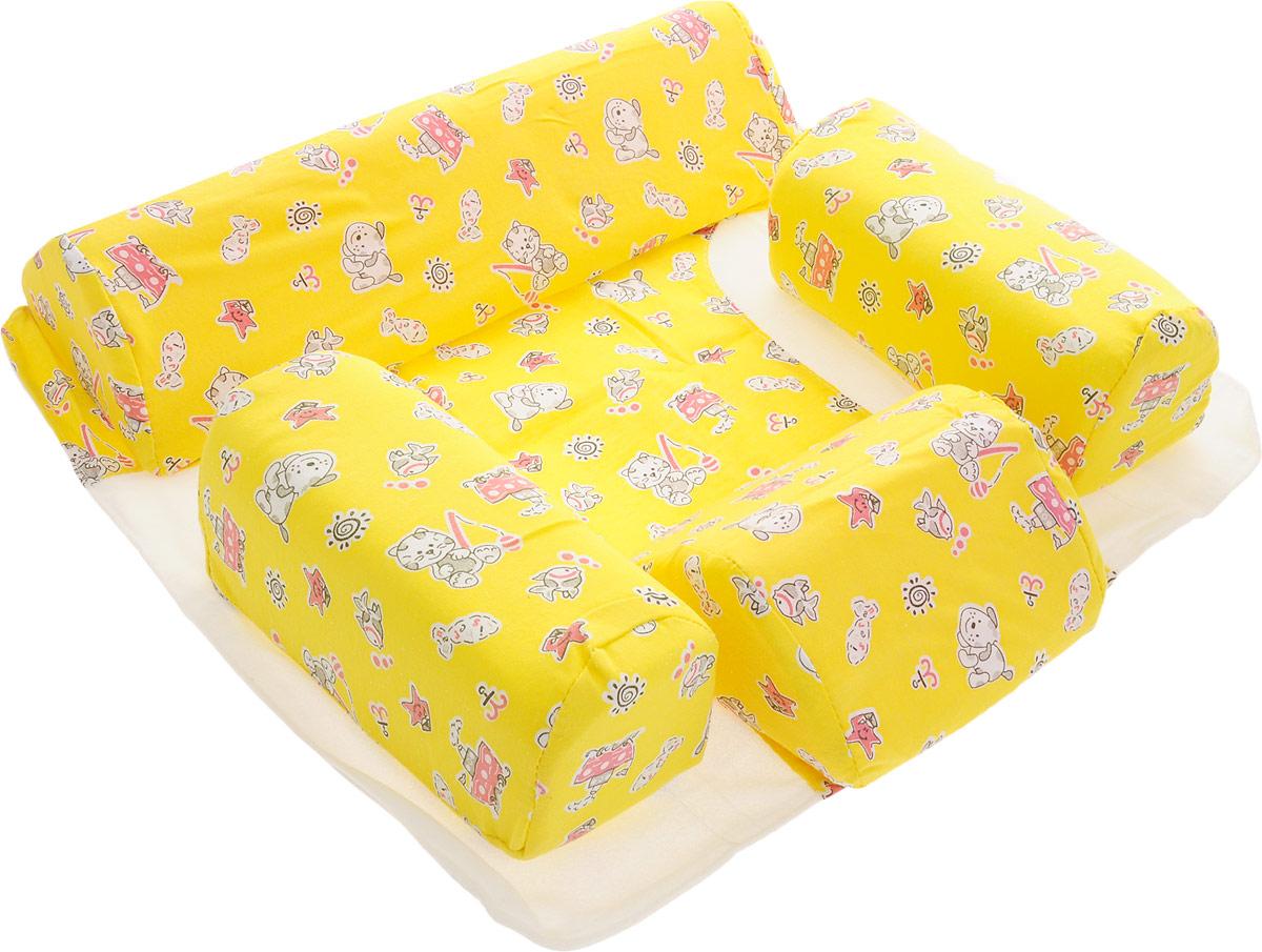 Selby Подушка для младенца Комплект-трансформер цвет желтый96281496Подушка Selby рекомендована детям до 6 месяцев при повышенной подвижности во время сна, нарушении мышечного тонуса околопозвоночных мышц. Использование подушки позволяет зафиксировать ребенка в нужном положении, предупреждает травмы и падение малыша.Набор состоит из основания-простынки и четырех съемных валиков: два - среднего размера для фиксации ребенка в положении на спине, малый и большой валики для фиксации ребенка в положении на боку.Валики разного размера легко крепятся к ворсистой части основания-простынки и ограничивают смещение тела и головы ребенка во время сна. Оптимальное время использования изделия - не более двух часов в одном положении ребенка. Желательно менять положение ребенка не реже одного раза в час.При использовании валиков средних размеров в положении лежа на спине, малым валиком можно дополнительно фиксировать голову ребенка при кривошее, слабости мышц шейного отдела позвоночника, гипертонусе мышц шеи.