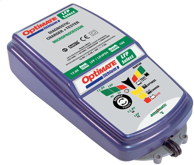 Зарядное устройство OptiMate Lithium 4S-5S. TM270TM270Зарядное устройство OptiMate Lithium 4S-5S предназначается для обслуживания литий-железо-фосфатных АКБ, которые состоят из 4 (12,8 В) и 5 (16 В) ячеек. Имеет большой дисплей со светодиодной индикацией, который способствует удобству эксплуатации модели. Зажимы типа крокодил гарантируют надежное подключение, без потерь тока в местах контакта. Влагозащищенный коннектор обеспечивает легкость работы с труднодоступными аккумуляторами. Специальные ушки на корпусе позволяют монтировать аппарат на стену.Комплектация: зарядное устройство, кольцевой разъем постоянного подключения с влагозащищенной крышкой О11, зажимы типа крокодил О4.Для аккумуляторов напряжением: 12 В.Напряжение питания: 220 В.Максимальный ток зарядки: 9,5 А. Тип зарядки автоматическая зарядка: (WET, EFB,AGM, GEL).Минимальный ток заряда: 0,66 А.