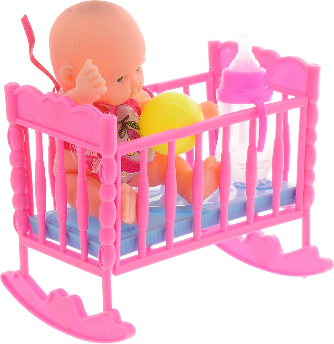 ABtoys Игровой набор с куклой Мой малыш с кроваткой