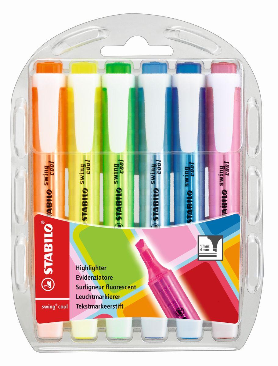 Stabilo Набор маркеров Swing 6 цветов0102016Stabilo swing cool - утонченный текстовыделитель.Единственный карманный текстовыделитель, имеющий 8 флуоресцентных цветов.Усиленный наконечник.Время, которое может находиться без колпачка – 4 часа.Лимитированный выпуск красочного дизайна корпуса.