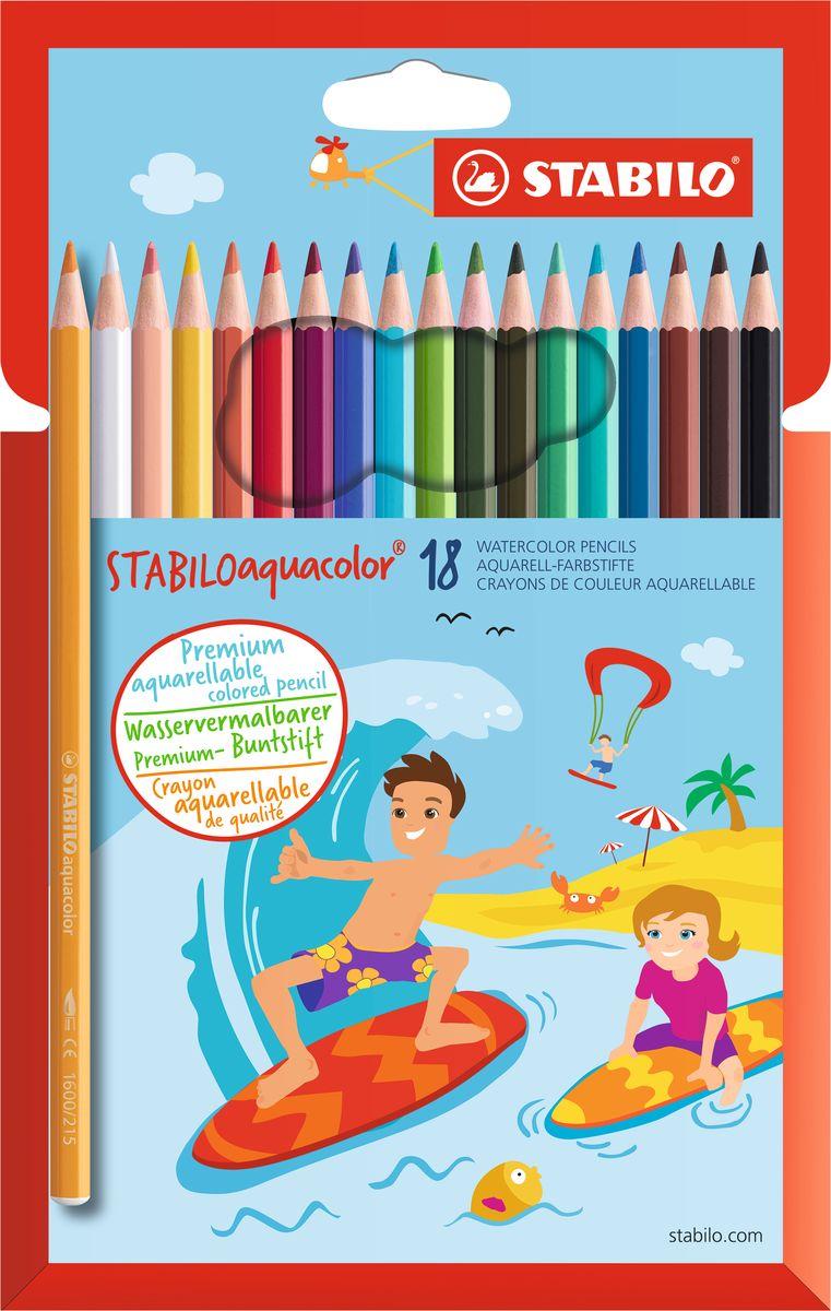 STABILO Набор акварельных карандашей Aquacolor 18 цветов218499Для создания рисунков с эффектом акварельных красок, надо растушевать рисунок кистью с водой или увлажнить бумагу перед рисованием. Идеально подходит для рисования в качестве классического цветного карандаша благодаря насыщенным цветам и мягкому грифелю, обеспечивающему легкость нанесения и отличную смешиваемость цветов.