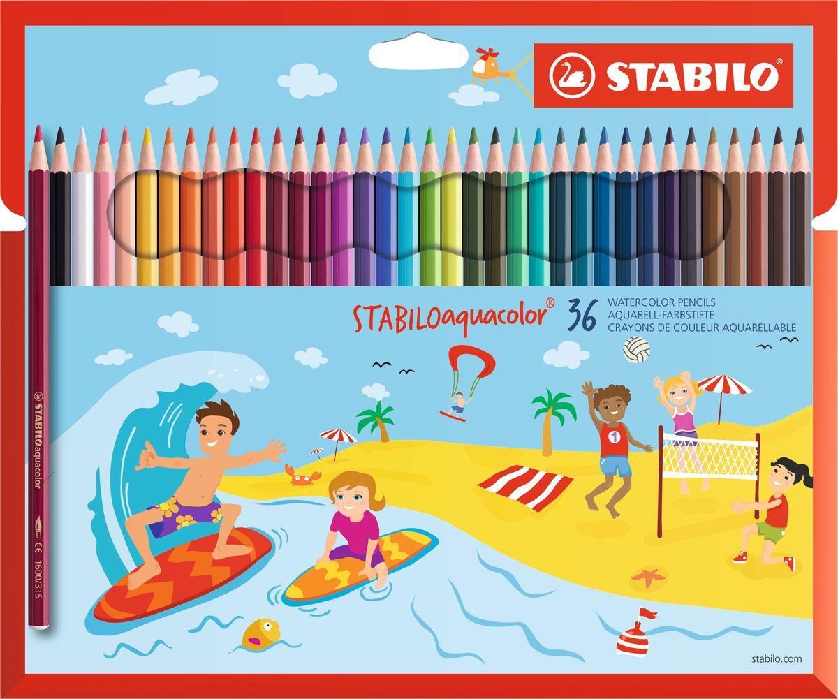 Stabilo Набор цветных карандашей Aquacolor 36 цветов72523WDДля создания рисунков с эффектом акварельных красок, надо растушевать рисунок кистью с водой или увлажнить бумагу перед рисованием. Идеально подходит для рисования в качестве классического цветного карандаша благодаря насыщенным цветам и мягкому грифелю, обеспечивающему легкость нанесения и отличную смешиваемость цветов. Stabilo aquacolor в наборах 12, 18, 24 и 36 цветов в картонной упаковке.