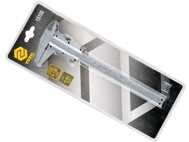Штангенцикруль Vorel, точность 0,05 мм, длина 150 мм30803Штангенциркуль Vorel используется для измерения внешних и внутренних размеров металлических деталей, профиля, листов и крепежа. С помощью этого прибора можно получить высокоточные данные параметров выступающих участков, углублений, отверстий, а также проверить готовые изделия на соответствие заявленным параметрам.Точность прибора: 0,05 мм.Длина измерительной штанги: 150 мм.