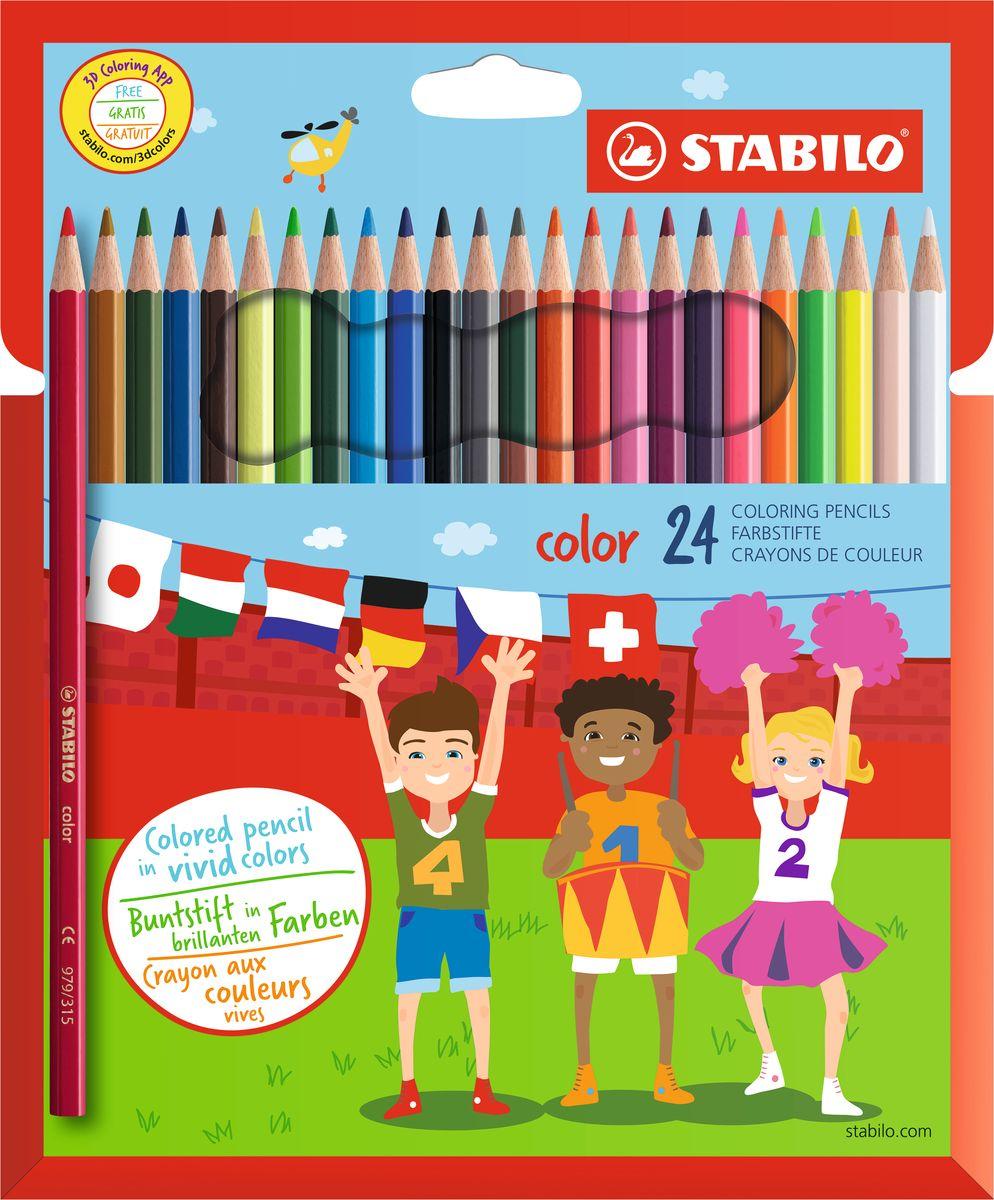 Stabilo Набор цветных карандашей Color 24 цвета72523WDЦветные карандаши серии Color обеспечивают легкую смешиваемость красок и мягкие, однородные по цвету линии. Высокая степень пигментации гарантирует особую яркость цвета, исключительную покрывающую способность и высокую устойчивость к свету. В наборе есть 4 флуоресцентных карандаша, которые добавляют больше возможностей для воображения юному художнику. В состав грифелей входит пчелиный воск, благодаря чему грифели легко рисуют на бумаге, не царапая ее и не крошась, и обладают повышенной устойчивостью к нагрузкам. Карандаши не ломаются при рисовании и затачивании. Корпус карандашей покрыт лаком на водной основе, легко и аккуратно затачивается.