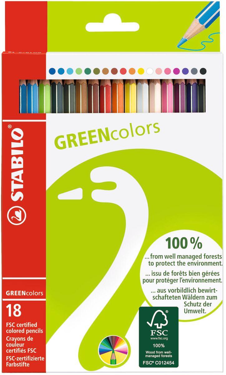 STABILO Набор цветных карандашей Green Colors 18 шт6019/2-18Экотовары - перспективное направление и действенный способ повышения лояльности к продукции. Знак FSC, которым отмечена Зеленая серия STABILO - это надежный критерий для выбора покупателями качественной, экологически безопасной продукции, так как гарантирует контроль источника древесины. У товаров этой серии современный, соответствующий своей идее дизайн упаковки.Цветные карандаши обеспечивают легкую смешиваемость красок и мягкие, однородные по цвету линии. Высокая степень пигментации гарантирует особую яркость цвета, исключительную покрывающую способность и высокую устойчивость к свету. В состав грифелей входит пчелиный воск, благодаря чему грифели легко рисуют на бумаге, не царапая ее и не крошась, и обладают повышенной устойчивостью к нагрузкам.Карандаши не ломаются при рисовании и затачивании. Корпус карандашей покрыт лаком на водной основе, легко и аккуратно затачивается.