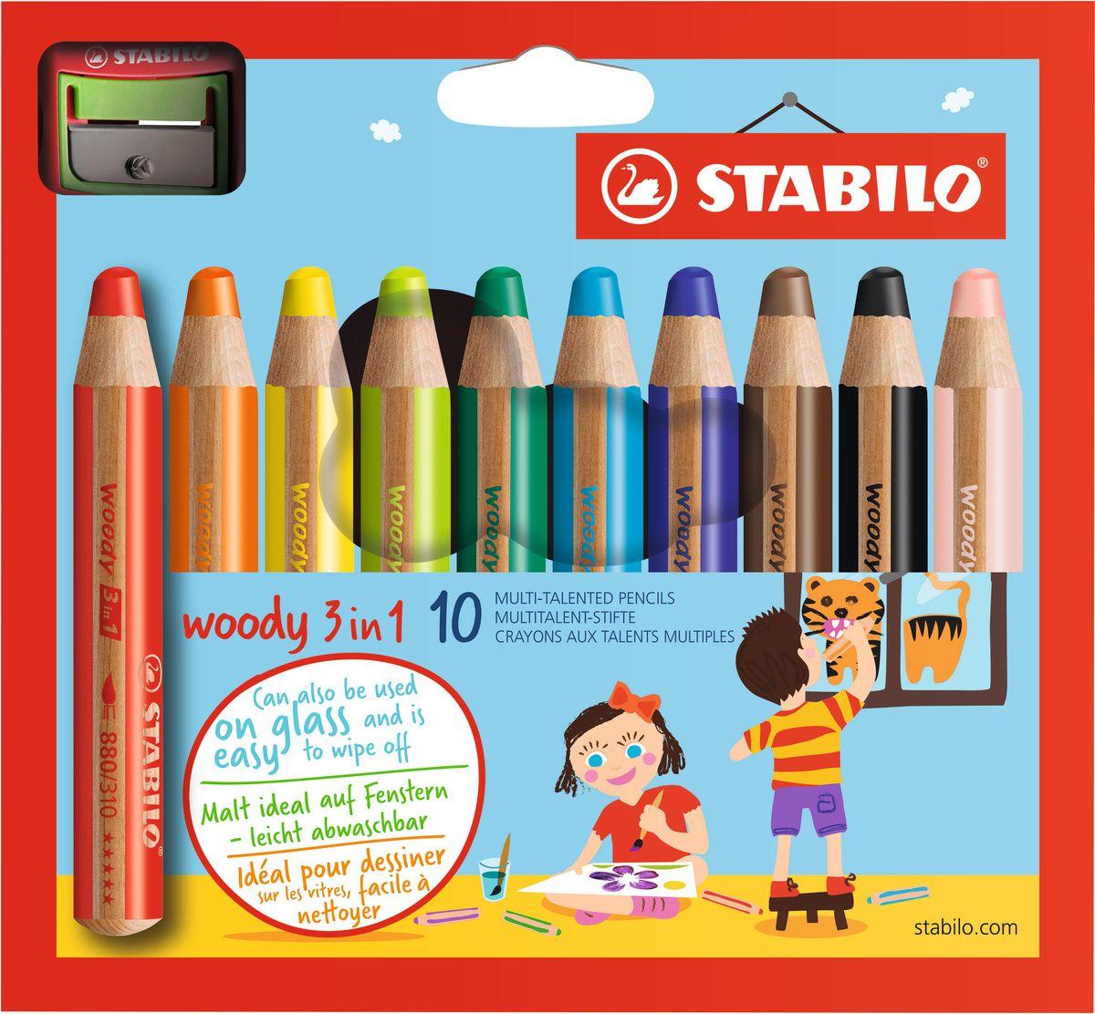 Stabilo Набор цветных карандашей Woody 3in1 10 цветов + точилка72523WDСупертолстый цветной карандаш, акварель и восковой мелок в одном. Это уникальные карандаши, сочетающие в себе возможности цветных карандашей, акварельных красок и восковых мелков. Пишут практически на всех гладких поверхностях, сключая сткло! Обеспечивают великолепный результат на темной бумаге благодаря исключительной яркости и интенсивности цвета. Великолепные акварельные качества. Очень прочный грифель диаметром 10 см для мягких штрихов. Цвет корпуса карандаша соответсвует цвету грифеля. Набор из 10 карандашей ПЛЮС точилка для толстых карандашей.