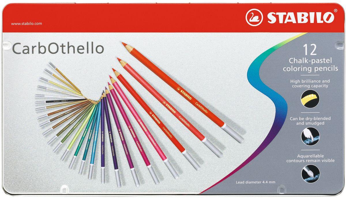 Stabilo Пастель CarbOthello 12 цветов1412-6Цветная пастель в виде деревянного карандаша. Деревянная оболочка карандаша защищает хрупкую сердцевину - пастельный мелок, способный передать бесподобную свежесть и выразительность красок. Мягкий грифель позволяет рисовать даже на очень тонкой бумаге. Можно использовать как акварельные карандаши. Цветная пастель идеально подходит для смешивания цветов. Исключительная насыщенность цвета позволяет добиться великолепных результатов даже на темном фоне. Набор в металлической коробке.