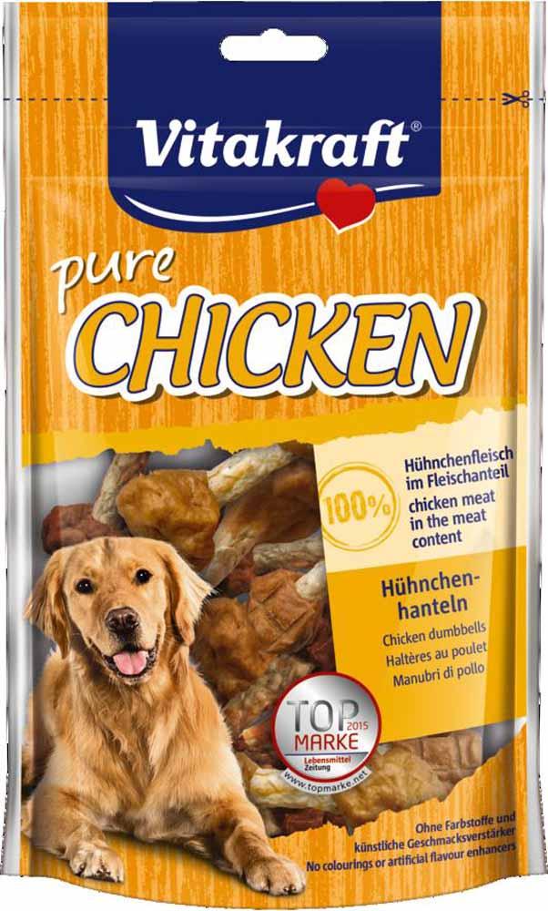 Лакомство Vitakraft, для собак, гантельки куриные, 80 г12171996Лакомство для собак Vitakraft из сыромятной кожи и курицы идеально подходит в качестве дополнения к основному рациону.Состав: 60% куриные мясо, сыромятная кожа, растительные экстракты, минералы.