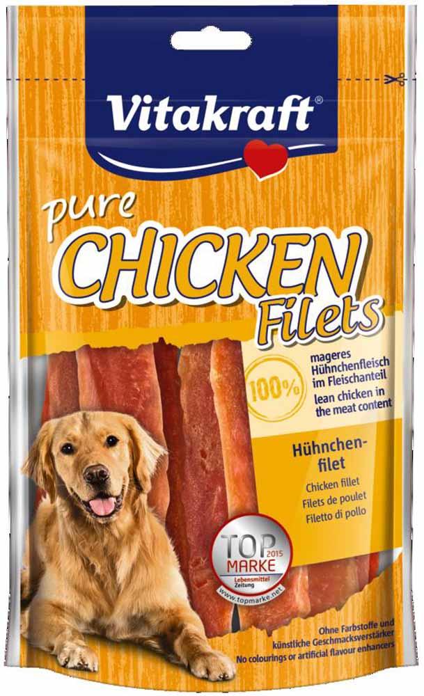Лакомство Vitakraft, для собак, филе куриное, 80 г14096Лакомство для собак Vitakraft из нежного куриного мяса является превосходным дополнением к основному рациону.Состав: куриные грудки 95%, растительные экстракты, минералы.