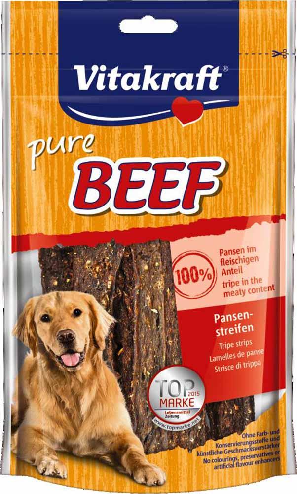 Лакомство Vitakraft, для собак, соломка из говядины, 80 г15587Лакомство для собак Vitakraft из отборной говядины идеально подходит в качестве дополнения к основному рациону.Состав: мясо и мясные субпродукты (рубец 92%), рис, овощи, люцерна.