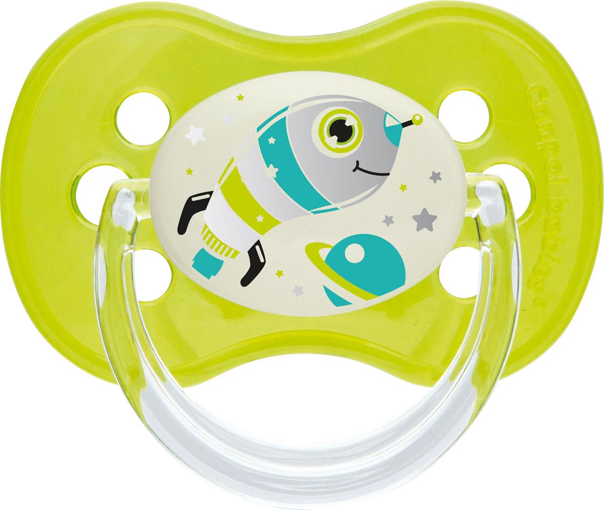 Canpol Babies Пустышка силиконовая симметричная Space Mission от 0 до 6 месяцев цвет зеленый canpol babies пустышка латексная space от 6 до 18 месяцев цвет фиолетовый