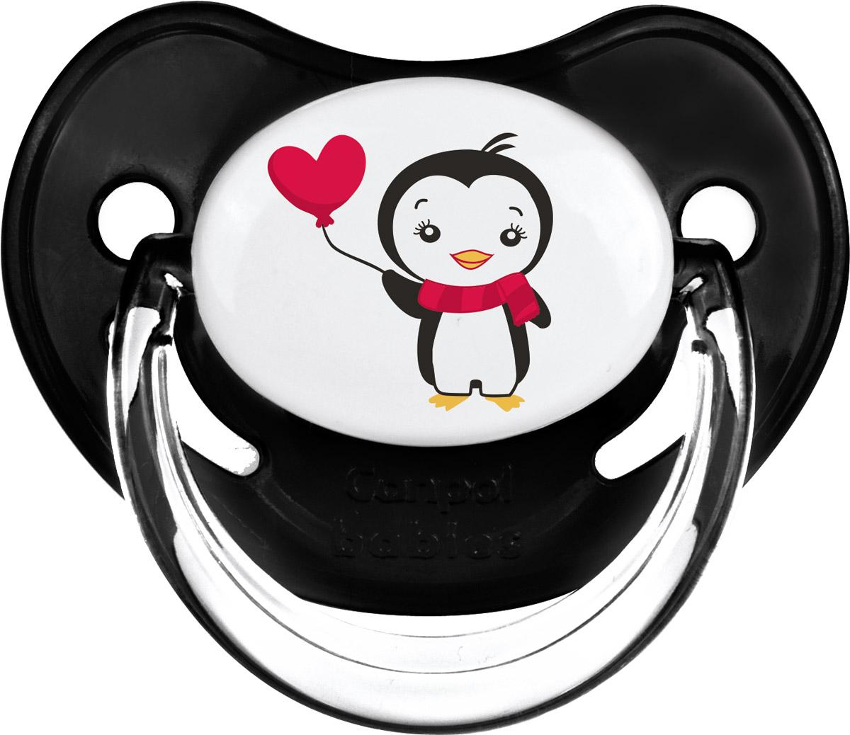 Canpol Babies Пустышка силиконовая ортодонтическая Penguins от 6 до 18 месяцев цвет черный