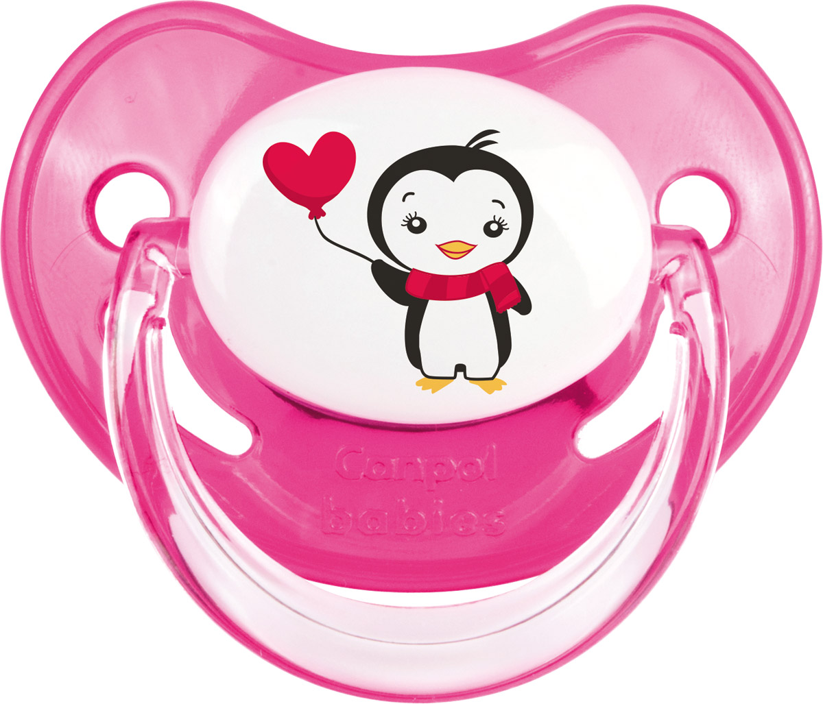 Canpol Babies Пустышка силиконовая ортодонтическая Penguins от 0 до 6 месяцев цвет розовый