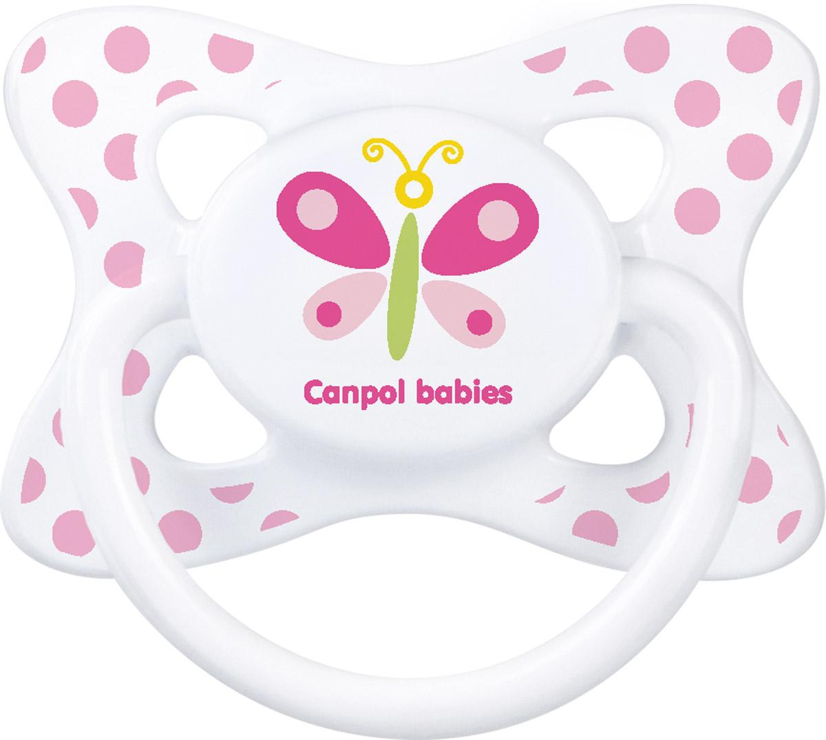 Canpol Babies Пустышка латексная Бабочка от 6 до 18 месяцев canpol babies пустышка латексная space от 6 до 18 месяцев цвет фиолетовый