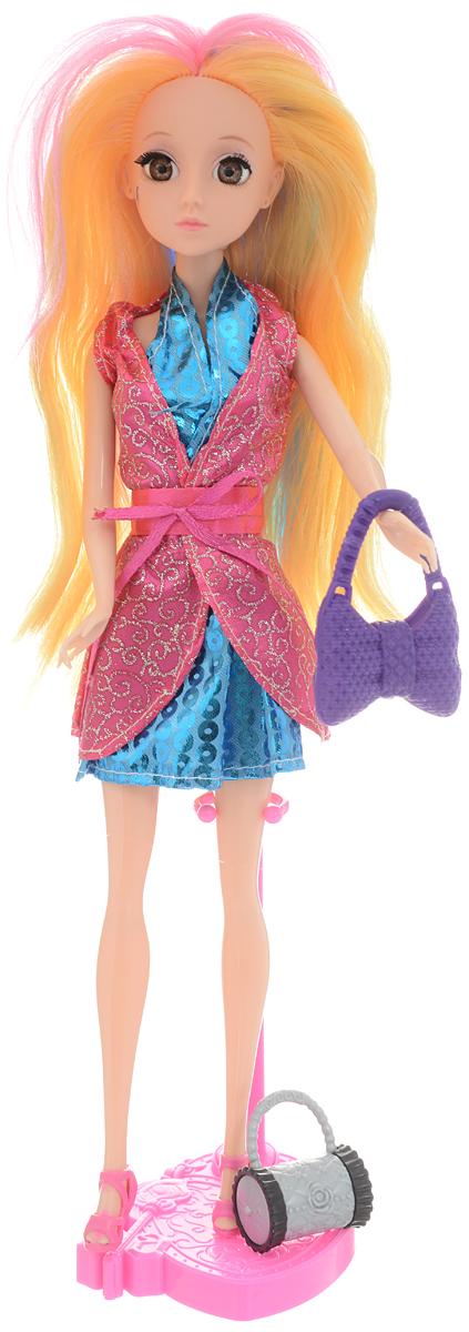 ABtoys Кукла Модница цвет платья голубой розовый 30 см abtoys кукла зимняя фея сноусторм