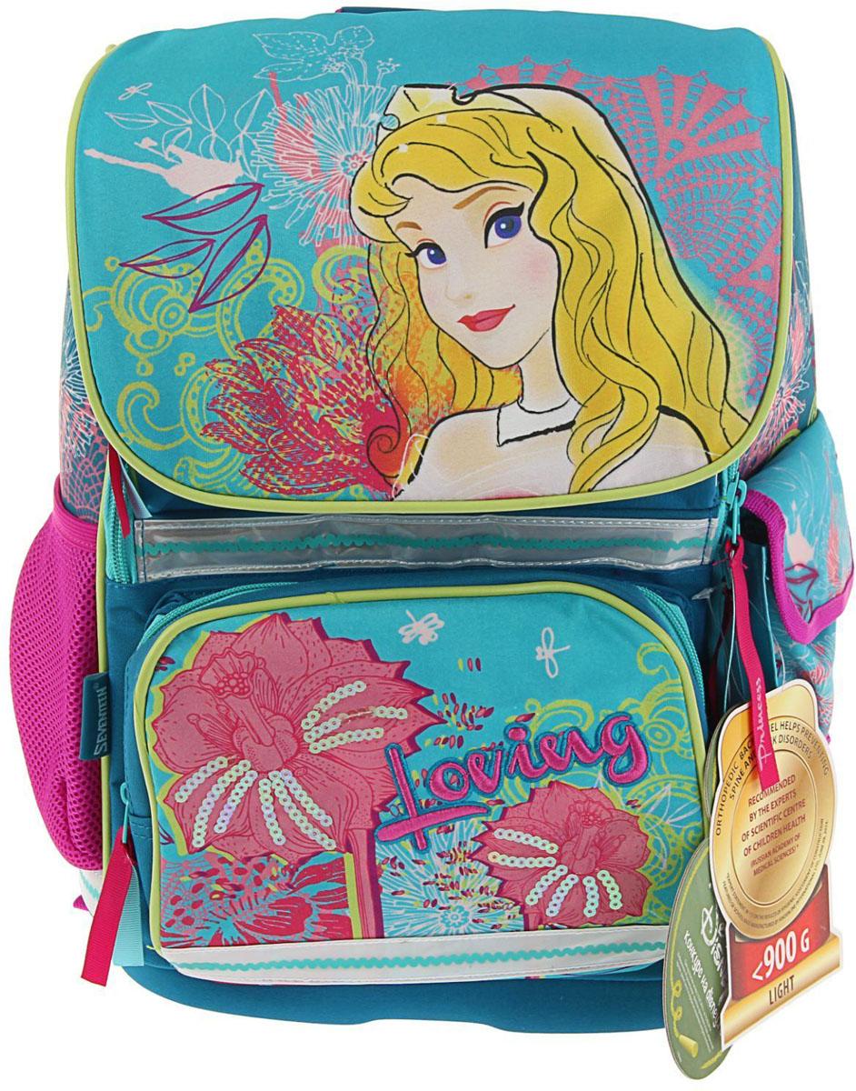 Disney Ранец школьный Принцесса цвет желтый голубой72523WDРанец, или портфель, — это жёсткая ученическая сумка, которая является традиционным атрибутом школьного «снаряжения».Характеристики идеального современного ранца для школьника выглядят так:жёсткие корпус и спинка;регулируемые широкие мягкие лямки;наличие светоотражателей;масса — 600?800 г;мягкие подушечки на спинке и сетчатая, «дышащая» задняя сторона.Ранец стандарт Disney Принцесса 35*26,5*13 эргономичная спинка, для девочки, бирюза — это очень практичное и качественное текстильное изделие, которое отвечает всем перечисленным требованиям.Жёсткий корпус защитит ребёнка и содержимое: он не позволит книгам и учебникам «втыкаться» в спину и сбережёт ранец, если ученик его уронит. А смягчающие элементы (поролон и сетка) сделают процесс ношения этого изделия комфортным.