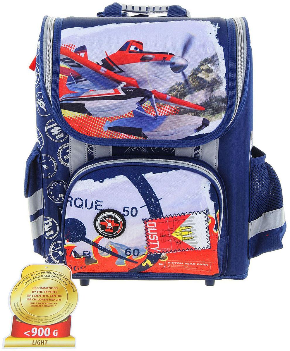 Disney Ранец школьный Planes цвет прозрачный синий1132886Ранец, или портфель, — это жёсткая ученическая сумка, которая является традиционным атрибутом школьного «снаряжения».Характеристики идеального современного ранца для школьника выглядят так:жёсткие корпус и спинка;регулируемые широкие мягкие лямки;наличие светоотражателей;масса — 600?800 г;мягкие подушечки на спинке и сетчатая, «дышащая» задняя сторона.Ранец стандарт раскладной Disney Planes 36*26*17 EVA-спинкой, для мальчика, синий — это очень практичное и качественное текстильное изделие, которое отвечает всем перечисленным требованиям.Жёсткий корпус защитит ребёнка и содержимое: он не позволит книгам и учебникам «втыкаться» в спину и сбережёт ранец, если ученик его уронит. А смягчающие элементы (поролон и сетка) сделают процесс ношения этого изделия комфортным.