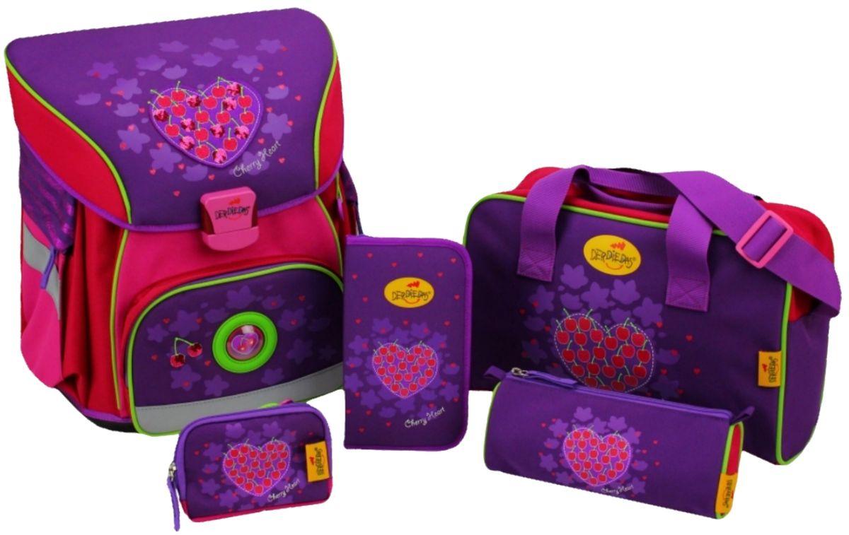 DerDieDas Ранец школьный xLIGHT Вишневое сердце с наполнением 5 предметов72523WDОтличный ортопедический ранец DerDieDas Вишневое сердце предназначен для девочек.Аккуратный рюкзак DerDieDas обязательно придется по душе вашей дочери. Лилово-розовый ранец отлично дополнен изображением сердца с миниатюрными аппетитными вишенками и стильным брелоком-сердечком, который поддерживает дизайн модели. Все краски гипоаллергенные и стойкие. Плотный и яркий полиэстер не боится воды и не выцветает на солнце, поэтому рюкзак надолго сохранит свой безукоризненный внешний вид. Даже самая миниатюрная девочка сможет без труда носить этот портфель, так как он очень легкий и при этом вместительный. Грамотно расположить в нем вещи можно благодаря разным отсекам и карманам. Все замочки разработаны специально для детских рук, поэтому они открываются и закрываются простыми движениями.DerDieDas Xlight - это ранец, разработанный для детей младших классов, поэтому все элементы изделия просты в эксплуатации. Спинка ранца жесткая, ортопедическая основа обеспечивает равномерное распределение веса по всей спине ребенка. Ручка ранца укорочена и расположена не удобно, в руках нести его будет не комфортно и ребенок будет надевать ранец на плечи. Дышащий мягкий материал на спинке и лямках придадут комфорт вашему ребенку. Мягкие регулируемые лямки обеспечат правильную посадку ранца. Безопасность ребенка в любое время суток обеспечивает 10% светоотражающего материала Reflexite. Высокопрочный и износостойкий полиэстер стоек к истиранию и не рвется. Дно ранца изготовлено из пластика, предотвращает деформацию и защищает от загрязнения. Содержимое ранца от влаги и загрязнений защищает водонепроницаемая внутренняя поверхность. Ухаживать за ранцем не составит особого труда, материал легко чистится стандартными средствами как снаружи, так и внутри. Большое отделение ранца позволит вместить все самое необходимое для школы. Гипоаллергенные яркие краски не линяют и не выцветают.Все элементы ранца надежны и безопасн
