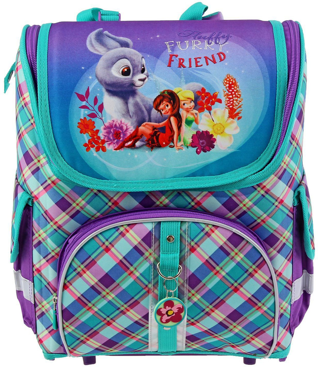 Disney Ранец школьный Феи и невиданный зверь цвет светло-коричневый бирюзовый72523WDРанец, или портфель, — это жёсткая ученическая сумка, которая является традиционным атрибутом школьного «снаряжения».Характеристики идеального современного ранца для школьника выглядят так:жёсткие корпус и спинка;регулируемые широкие мягкие лямки;наличие светоотражателей;масса — 600?800 г;мягкие подушечки на спинке и сетчатая, «дышащая» задняя сторона.Ранец стандарт раскладной Disney Феи и невиданный зверь, Light 36*27*20 , для девочки Бирюза, EK 37683 — это очень практичное и качественное текстильное изделие, которое отвечает всем перечисленным требованиям.Жёсткий корпус защитит ребёнка и содержимое: он не позволит книгам и учебникам «втыкаться» в спину и сбережёт ранец, если ученик его уронит. А смягчающие элементы (поролон и сетка) сделают процесс ношения этого изделия комфортным.