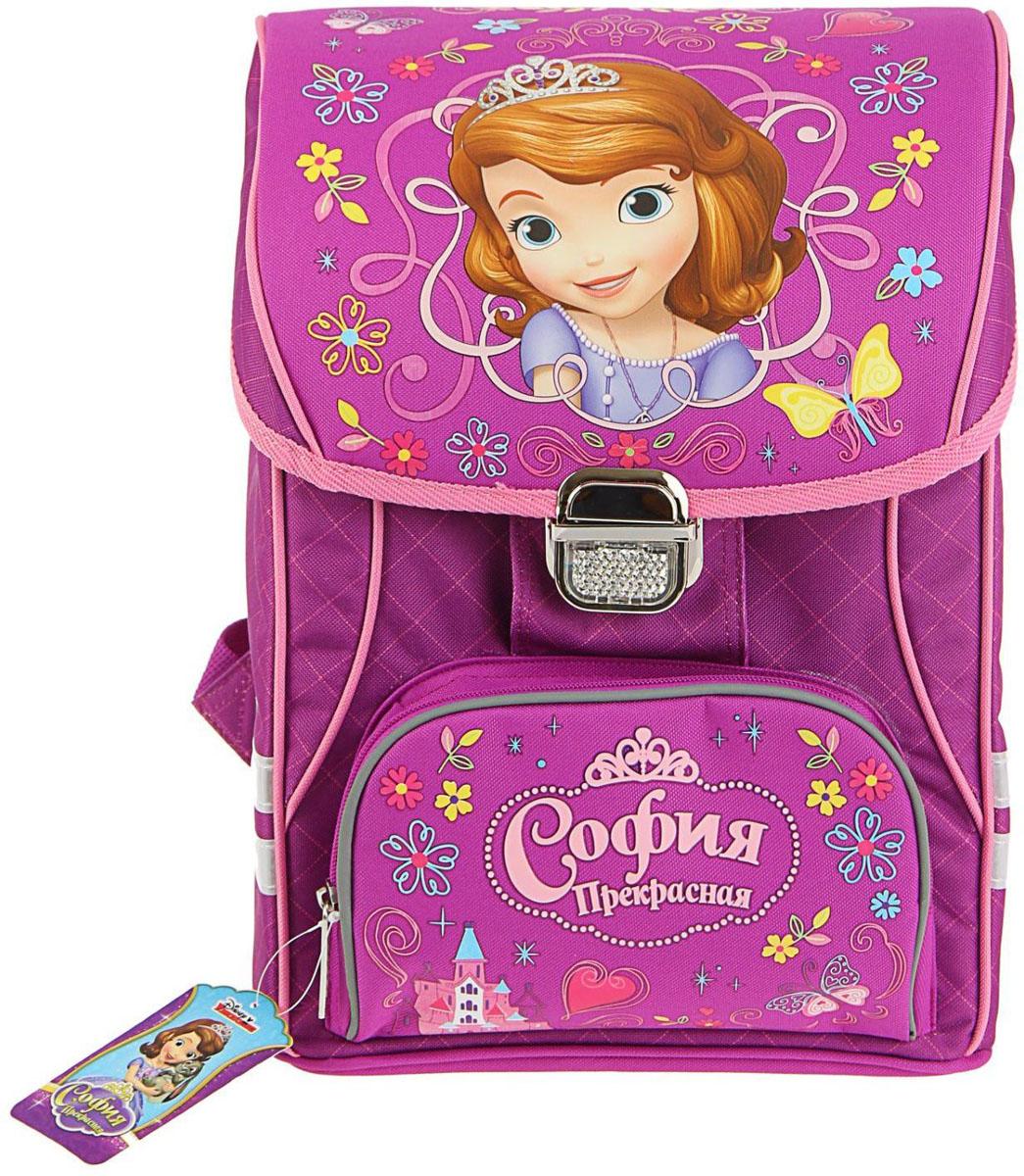 Disney Ранец школьный София цвет бежевый розовый72523WDРанец, или портфель, — это жёсткая ученическая сумка, которая является традиционным атрибутом школьного «снаряжения».Характеристики идеального современного ранца для школьника выглядят так:жёсткие корпус и спинка;регулируемые широкие мягкие лямки;наличие светоотражателей;масса — 600?800 г;мягкие подушечки на спинке и сетчатая, «дышащая» задняя сторона.Ранец на замке Disney София 37*30*21 см, для девочки, фиолетовый — это очень практичное и качественное текстильное изделие, которое отвечает всем перечисленным требованиям.Жёсткий корпус защитит ребёнка и содержимое: он не позволит книгам и учебникам «втыкаться» в спину и сбережёт ранец, если ученик его уронит. А смягчающие элементы (поролон и сетка) сделают процесс ношения этого изделия комфортным.